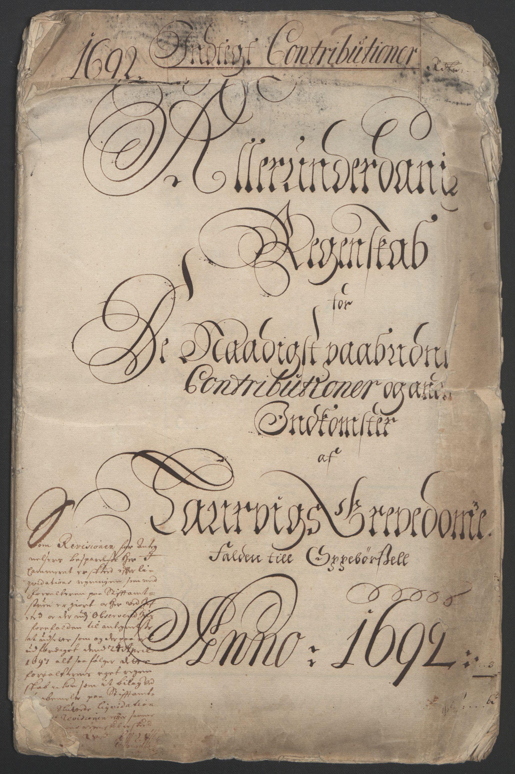 RA, Rentekammeret inntil 1814, Reviderte regnskaper, Fogderegnskap, R33/L1973: Fogderegnskap Larvik grevskap, 1692, s. 3