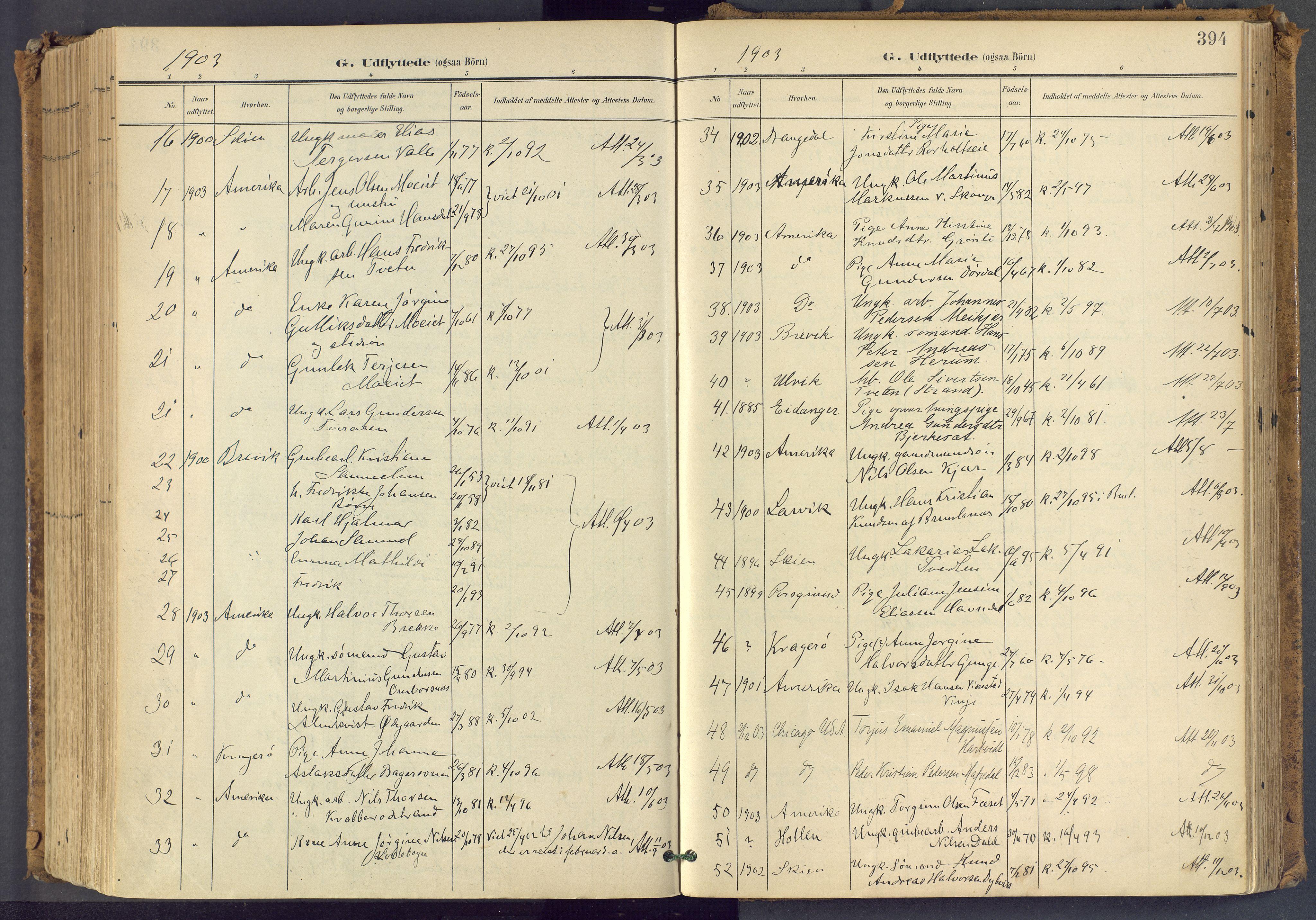 SAKO, Bamble kirkebøker, F/Fa/L0009: Ministerialbok nr. I 9, 1901-1917, s. 394