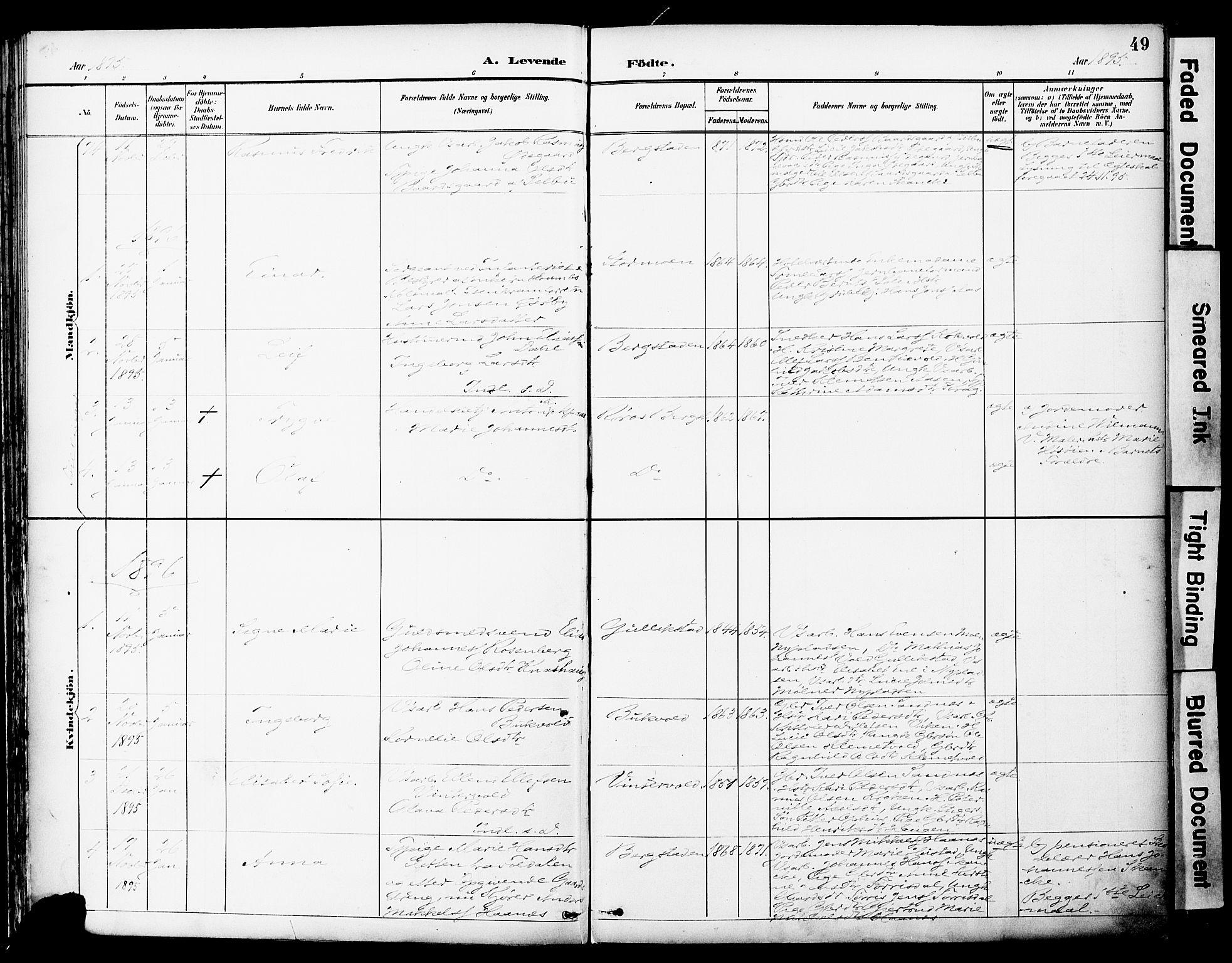 SAT, Ministerialprotokoller, klokkerbøker og fødselsregistre - Sør-Trøndelag, 681/L0935: Ministerialbok nr. 681A13, 1890-1898, s. 49