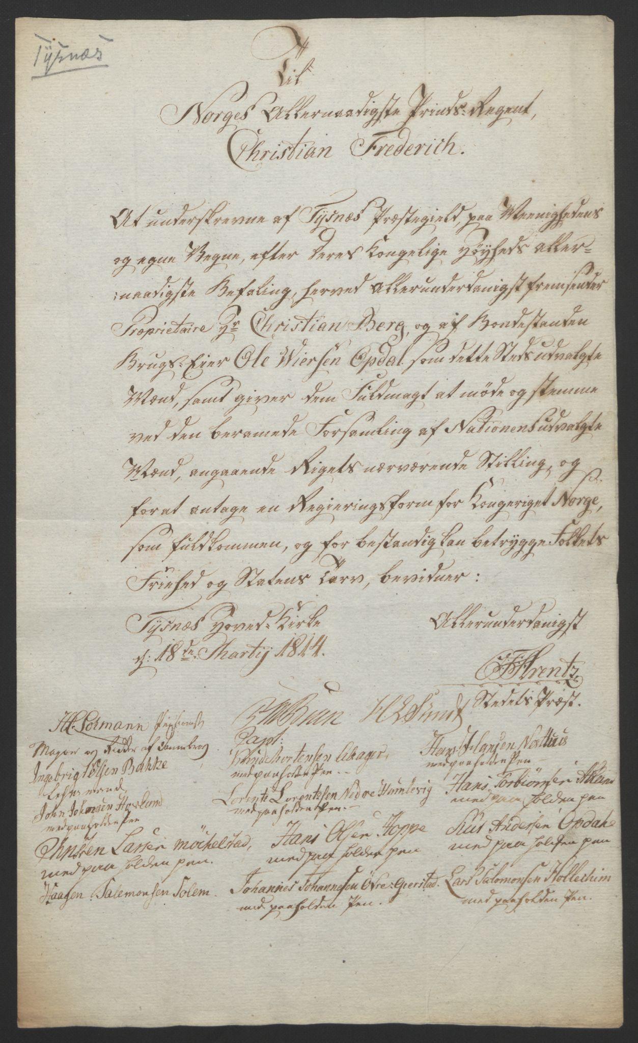 RA, Statsrådssekretariatet, D/Db/L0008: Fullmakter for Eidsvollsrepresentantene i 1814. , 1814, s. 302