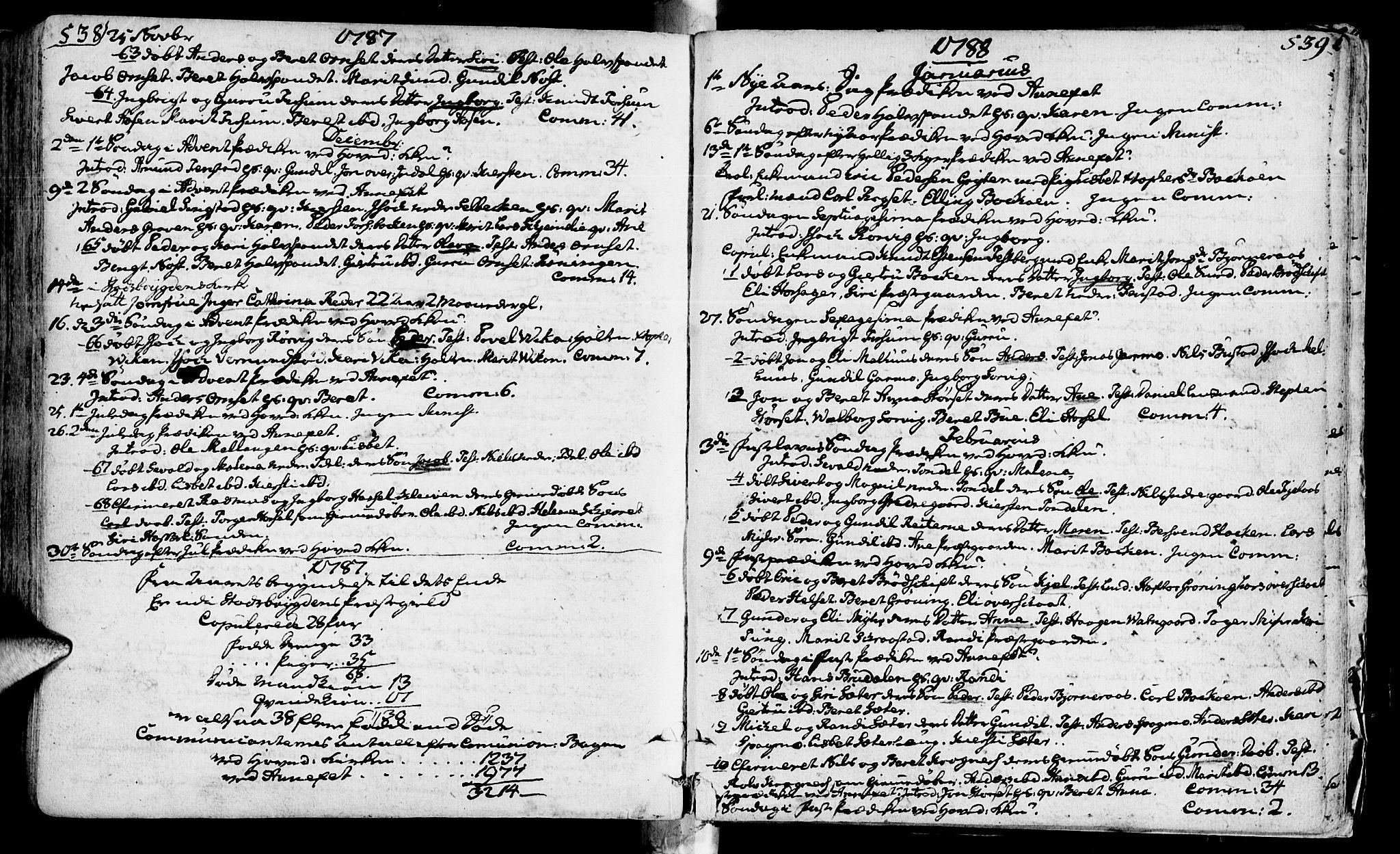 SAT, Ministerialprotokoller, klokkerbøker og fødselsregistre - Sør-Trøndelag, 646/L0605: Ministerialbok nr. 646A03, 1751-1790, s. 538-539