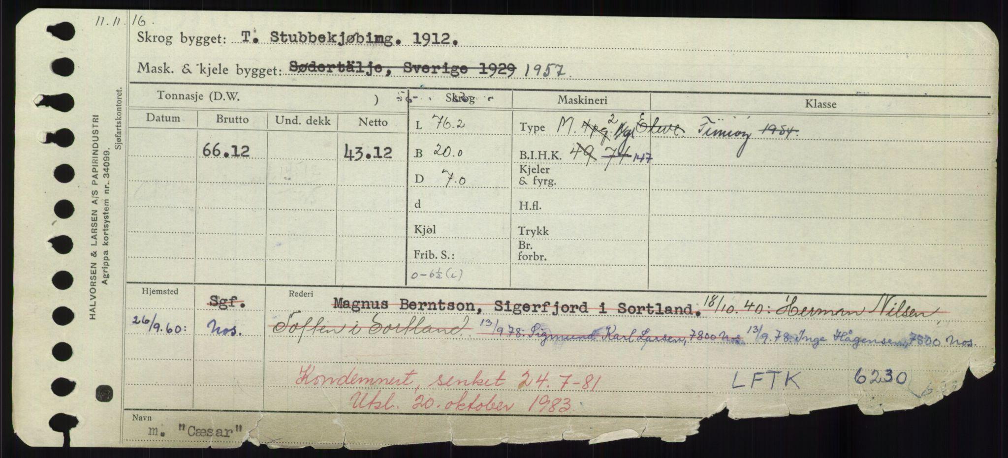 RA, Sjøfartsdirektoratet med forløpere, Skipsmålingen, H/Hd/L0008: Fartøy, C-D, s. 301