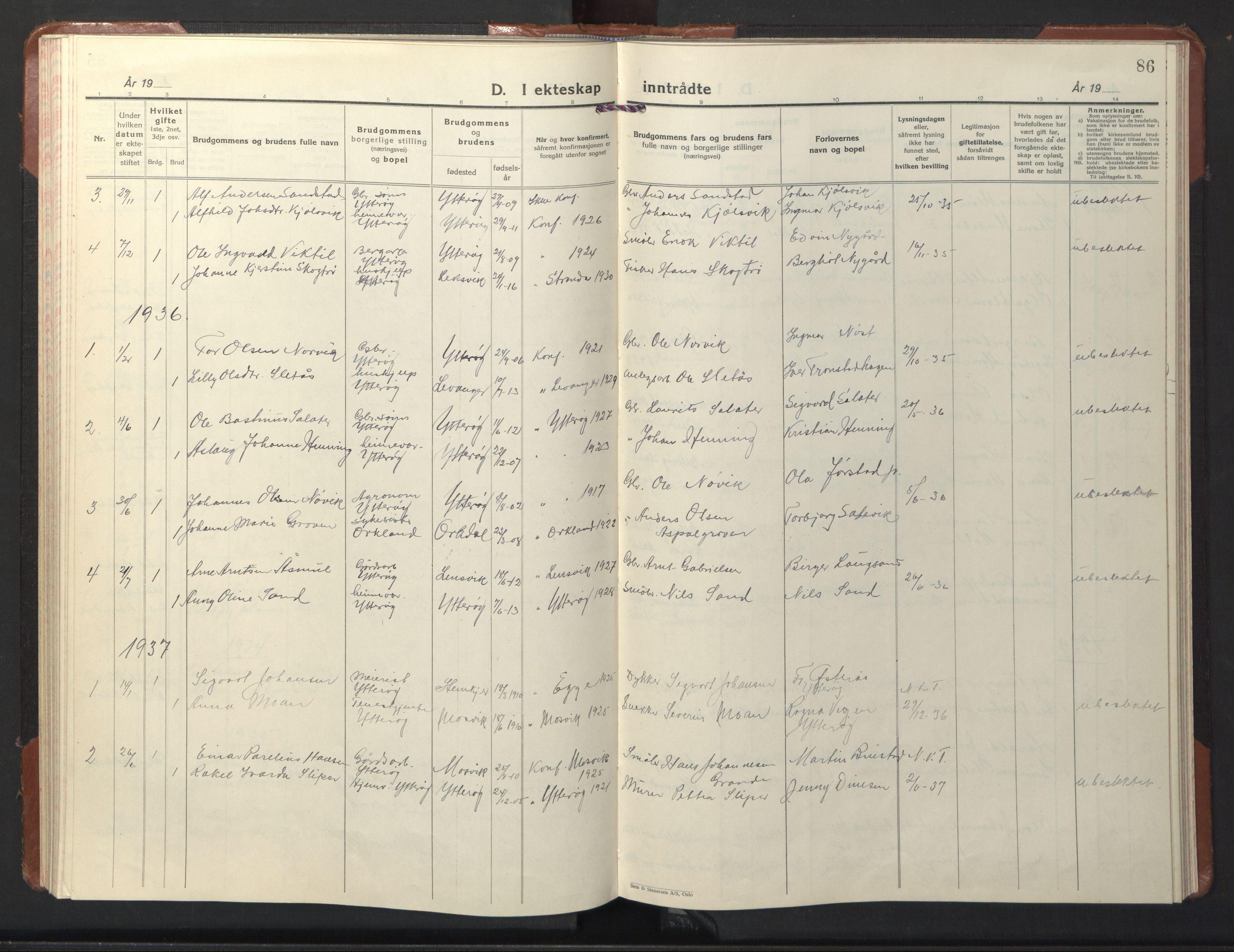 SAT, Ministerialprotokoller, klokkerbøker og fødselsregistre - Nord-Trøndelag, 722/L0227: Klokkerbok nr. 722C03, 1928-1958, s. 86