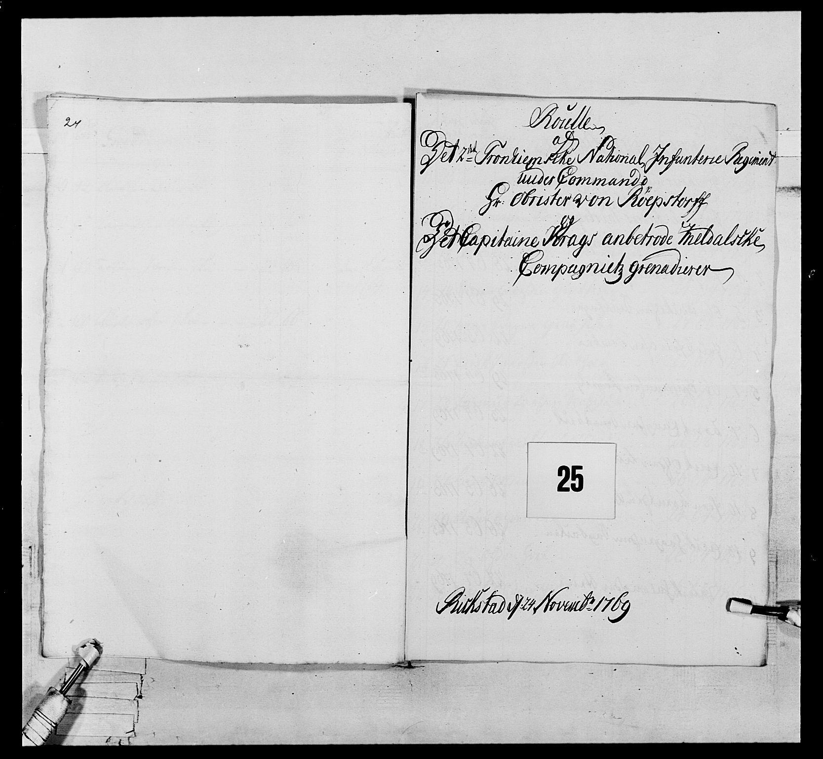 RA, Generalitets- og kommissariatskollegiet, Det kongelige norske kommissariatskollegium, E/Eh/L0076: 2. Trondheimske nasjonale infanteriregiment, 1766-1773, s. 63