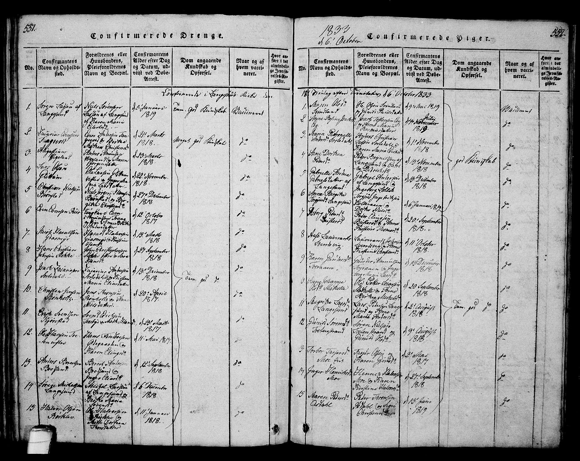 SAKO, Bamble kirkebøker, G/Ga/L0005: Klokkerbok nr. I 5, 1814-1855, s. 551-552
