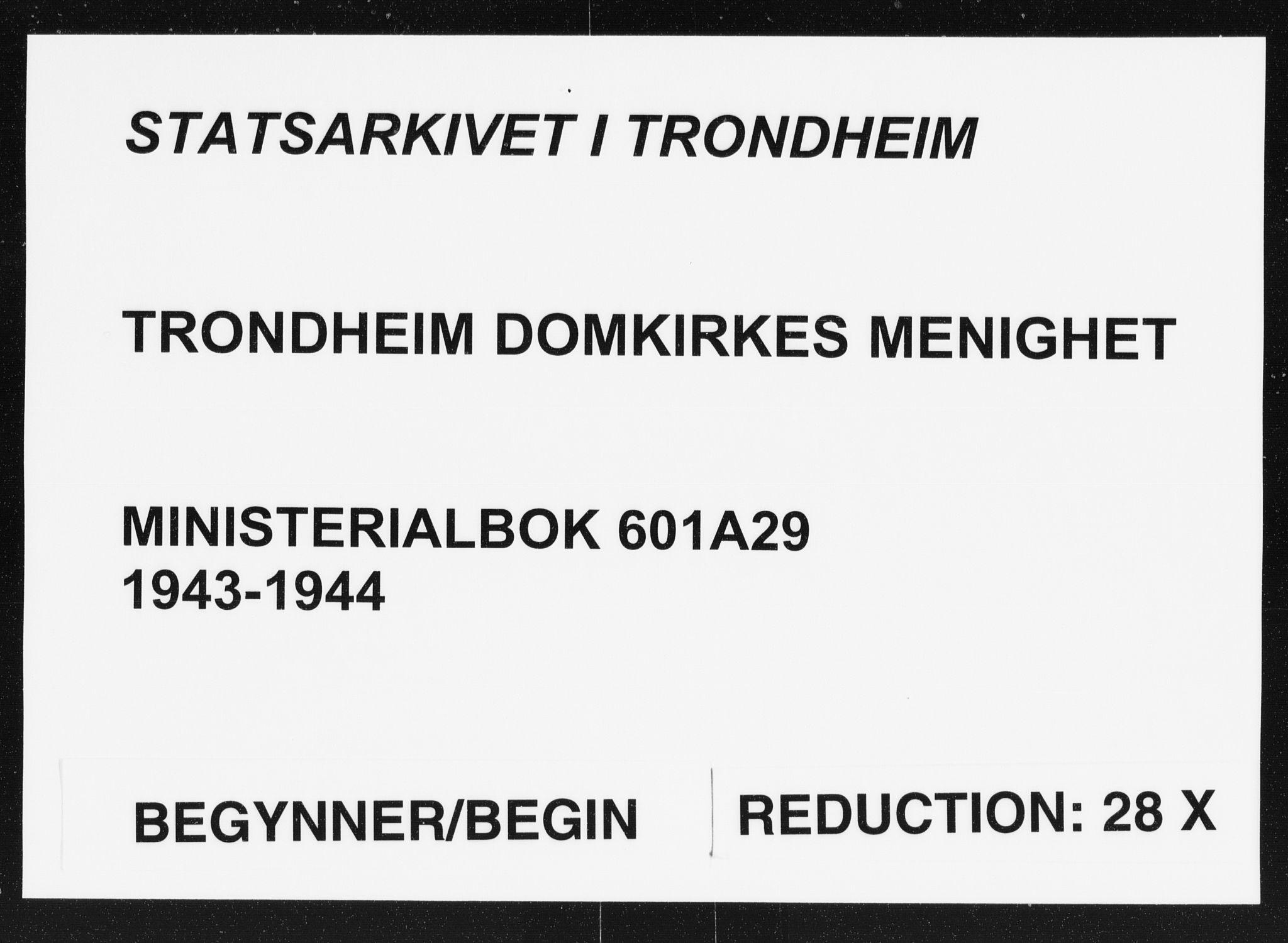 SAT, Ministerialprotokoller, klokkerbøker og fødselsregistre - Sør-Trøndelag, 601/L0061: Ministerialbok nr. 601A29, 1943-1944
