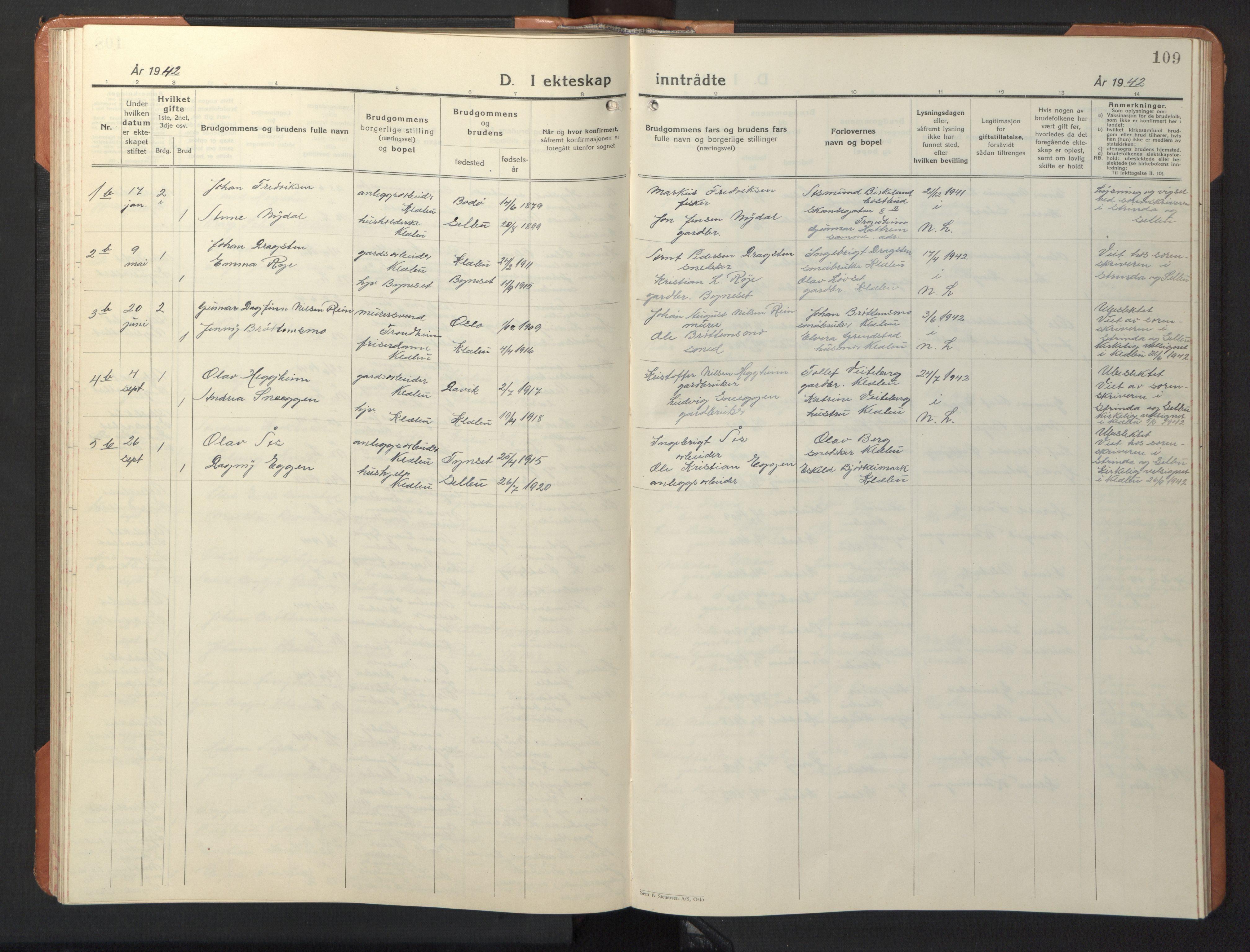 SAT, Ministerialprotokoller, klokkerbøker og fødselsregistre - Sør-Trøndelag, 618/L0454: Klokkerbok nr. 618C05, 1926-1946, s. 109