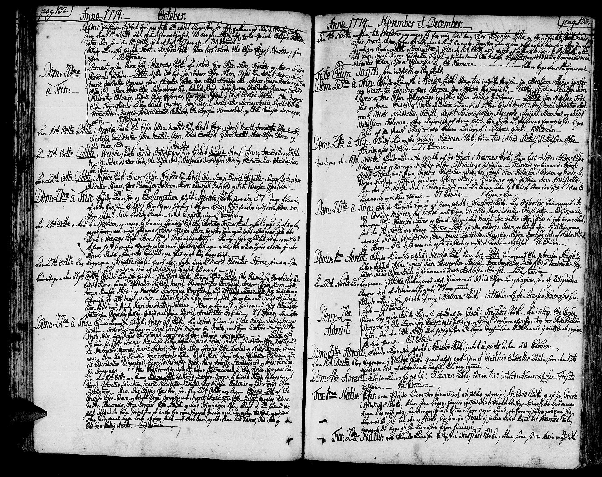 SAT, Ministerialprotokoller, klokkerbøker og fødselsregistre - Møre og Romsdal, 547/L0600: Ministerialbok nr. 547A02, 1765-1799, s. 132-133