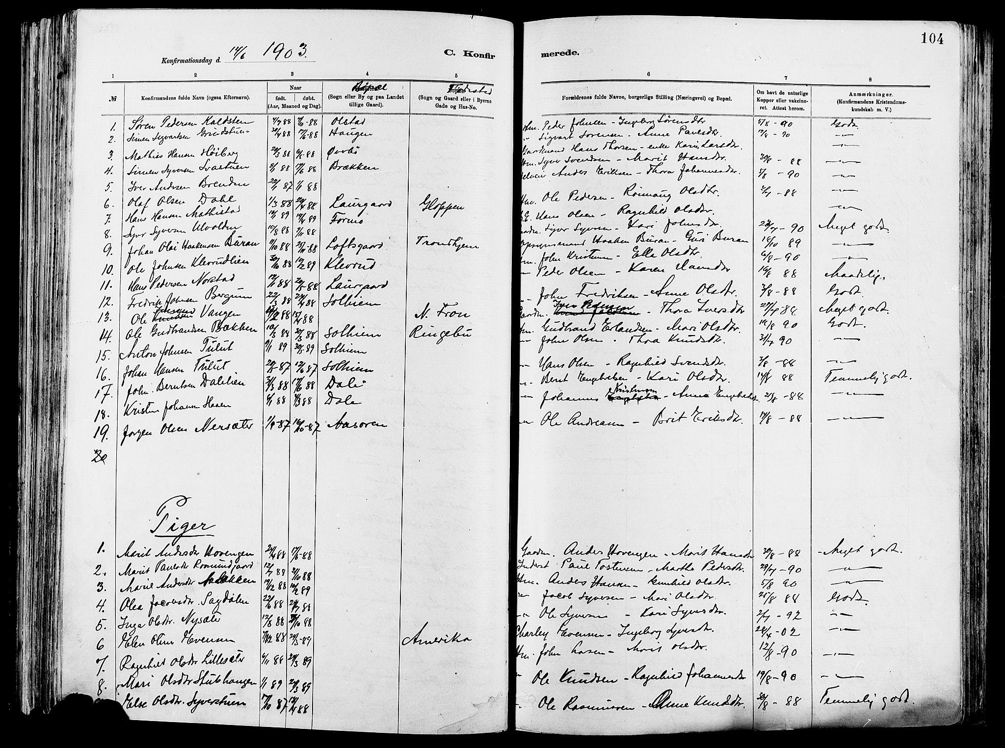 SAH, Vågå prestekontor, Ministerialbok nr. 8, 1886-1904, s. 104