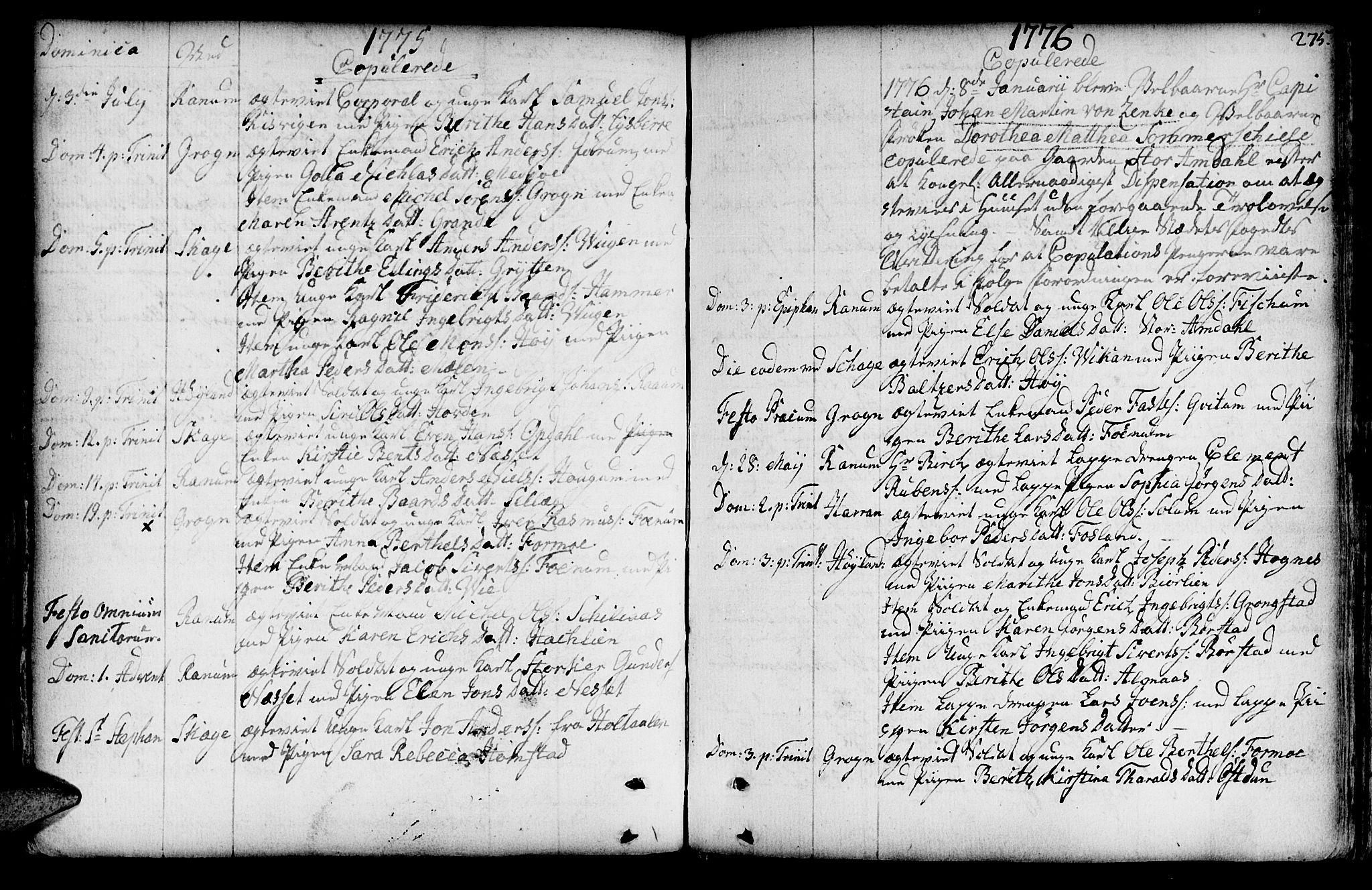 SAT, Ministerialprotokoller, klokkerbøker og fødselsregistre - Nord-Trøndelag, 764/L0542: Ministerialbok nr. 764A02, 1748-1779, s. 275