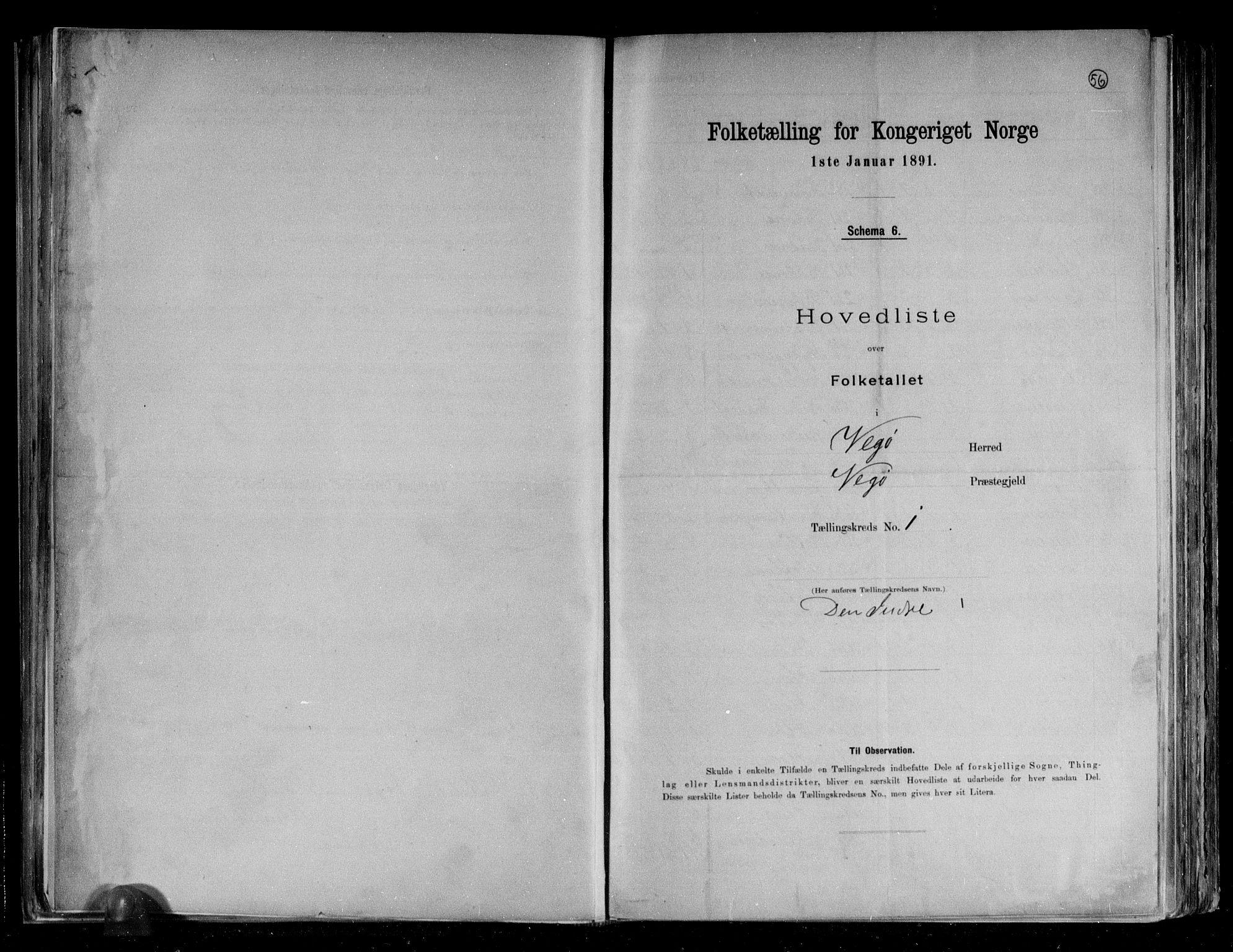 RA, Folketelling 1891 for 1815 Vega herred, 1891, s. 4