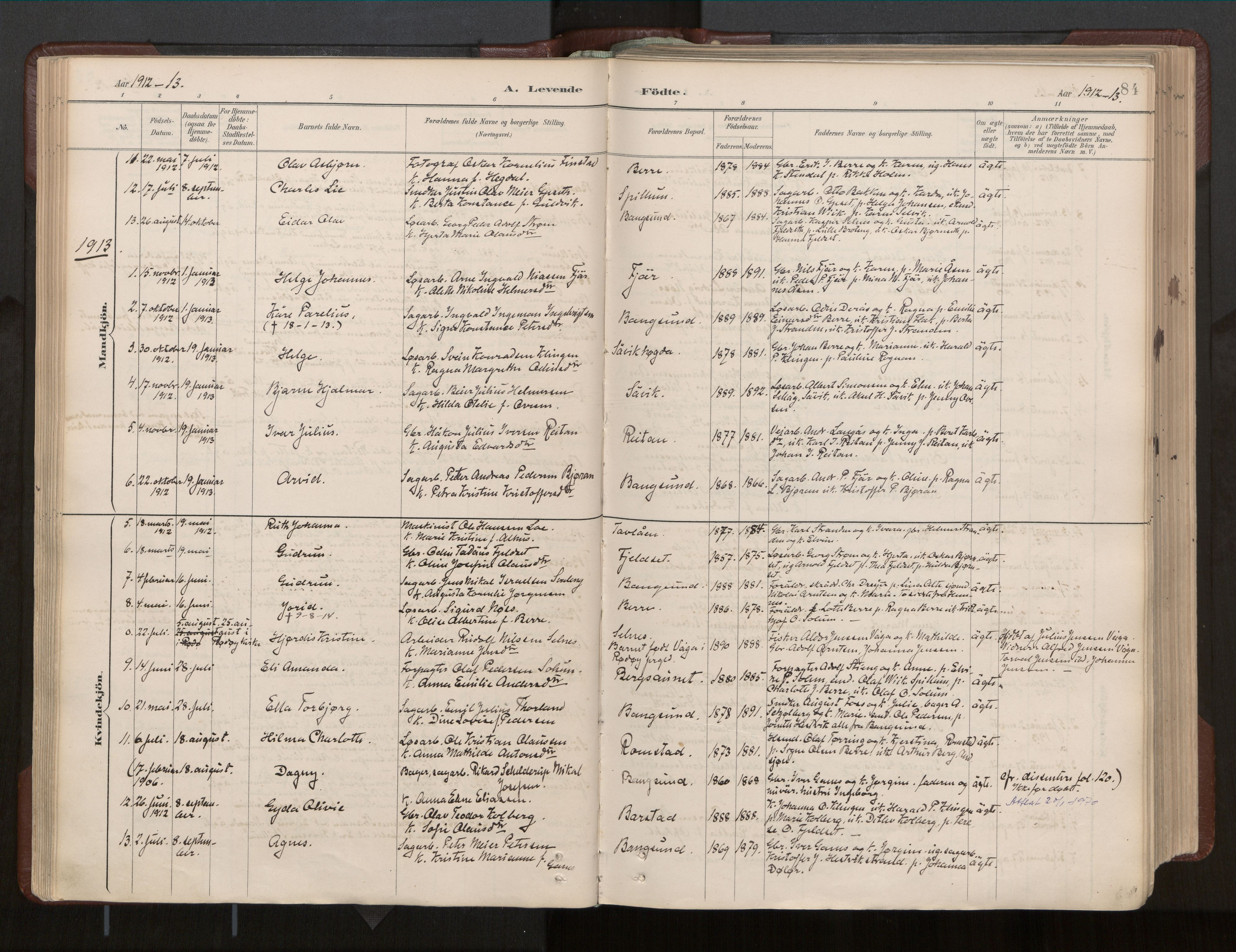 SAT, Ministerialprotokoller, klokkerbøker og fødselsregistre - Nord-Trøndelag, 770/L0589: Ministerialbok nr. 770A03, 1887-1929, s. 84