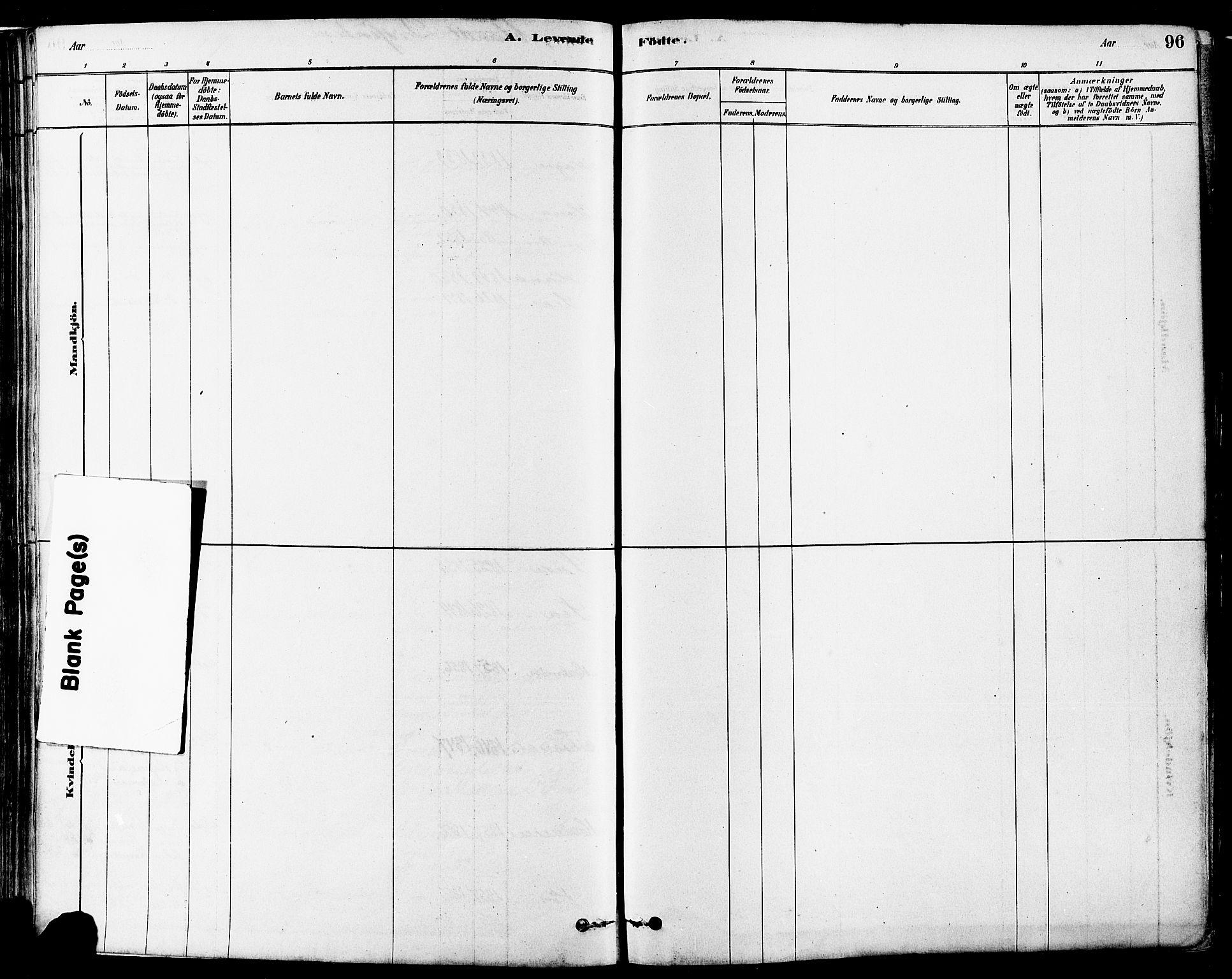 SAST, Høyland sokneprestkontor, 30BA/L0011: Ministerialbok nr. A 10, 1878-1888, s. 96