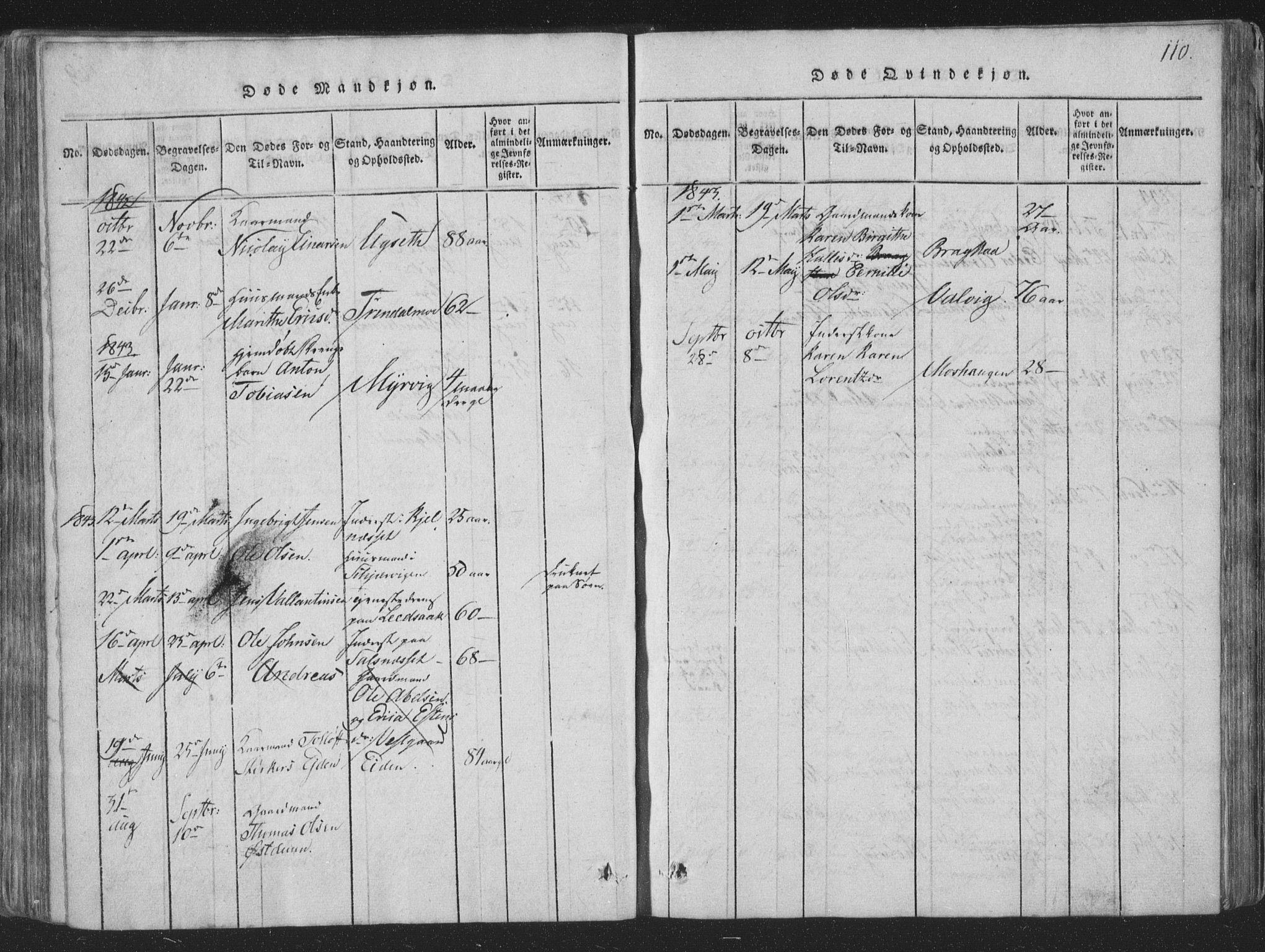 SAT, Ministerialprotokoller, klokkerbøker og fødselsregistre - Nord-Trøndelag, 773/L0613: Ministerialbok nr. 773A04, 1815-1845, s. 110