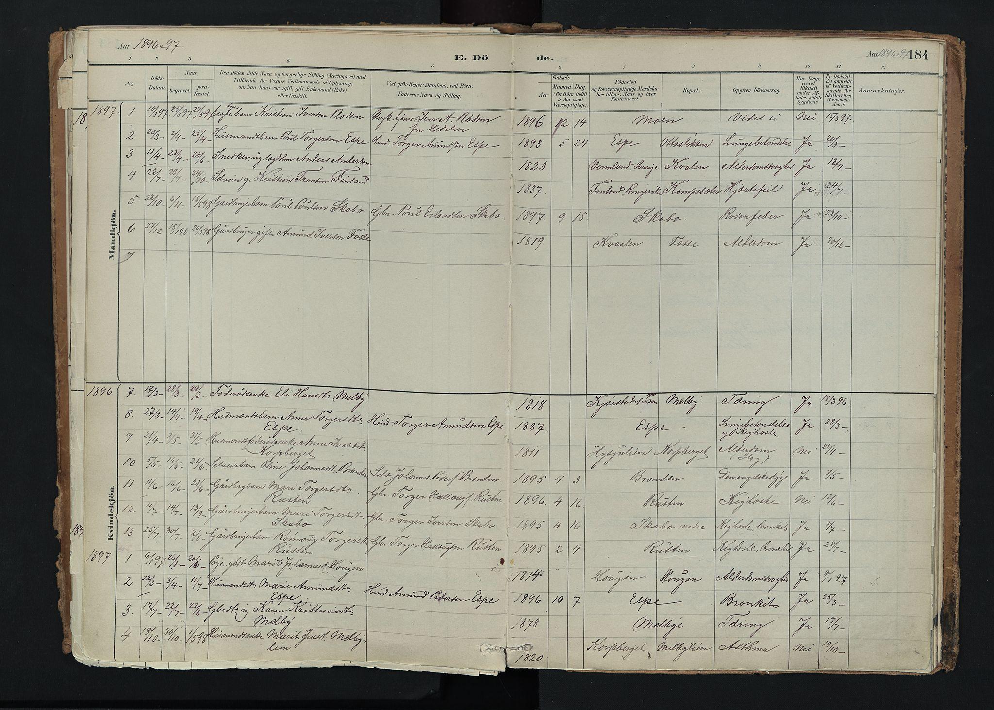 SAH, Nord-Fron prestekontor, Ministerialbok nr. 5, 1884-1914, s. 184