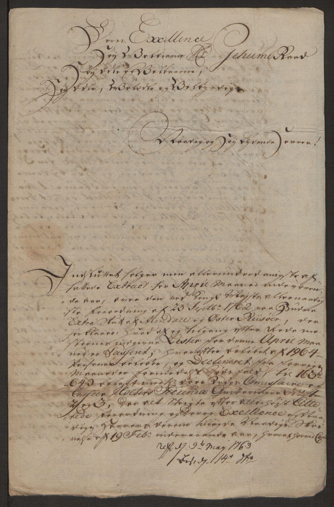 RA, Rentekammeret inntil 1814, Reviderte regnskaper, Byregnskaper, R/Rl/L0230: [L4] Kontribusjonsregnskap, 1762-1764, s. 387