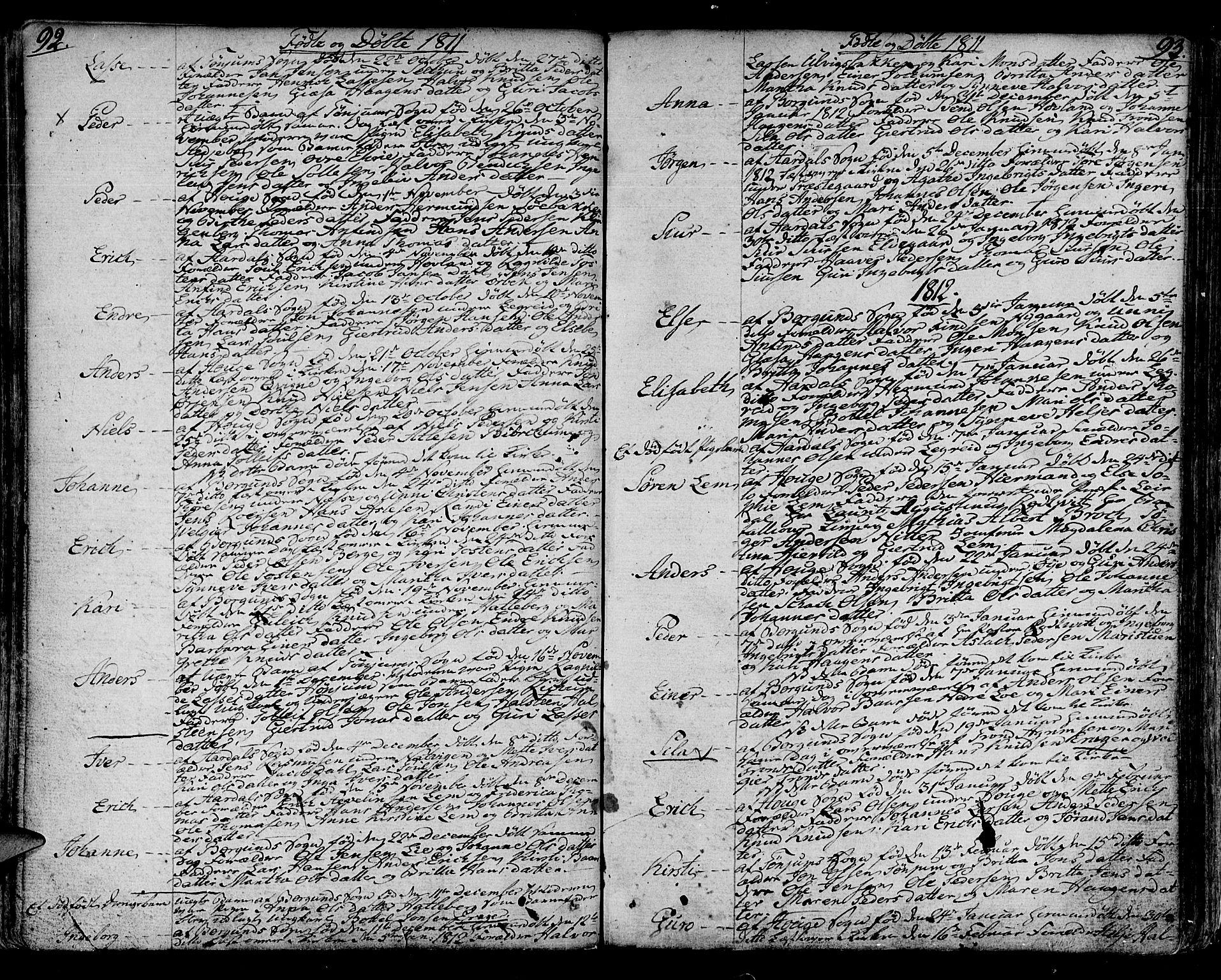 SAB, Lærdal sokneprestembete, Ministerialbok nr. A 4, 1805-1821, s. 92-93