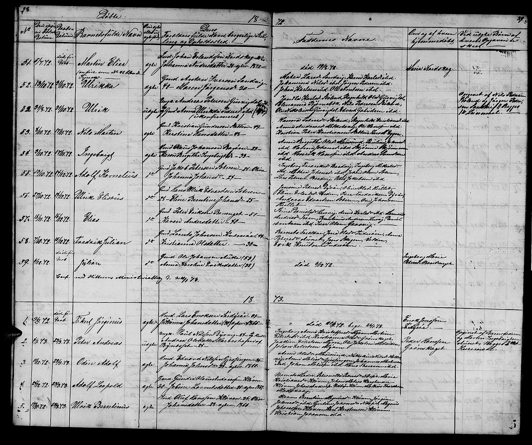 SAT, Ministerialprotokoller, klokkerbøker og fødselsregistre - Sør-Trøndelag, 640/L0583: Klokkerbok nr. 640C01, 1866-1877, s. 38-39