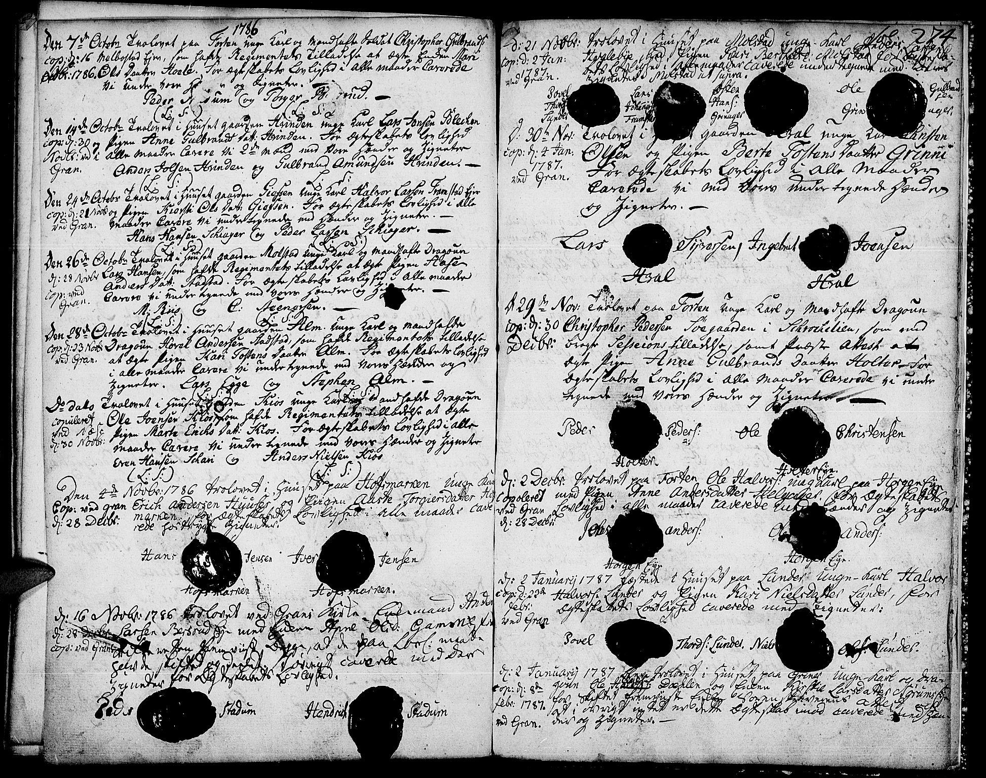 SAH, Gran prestekontor, Ministerialbok nr. 5, 1776-1788, s. 274