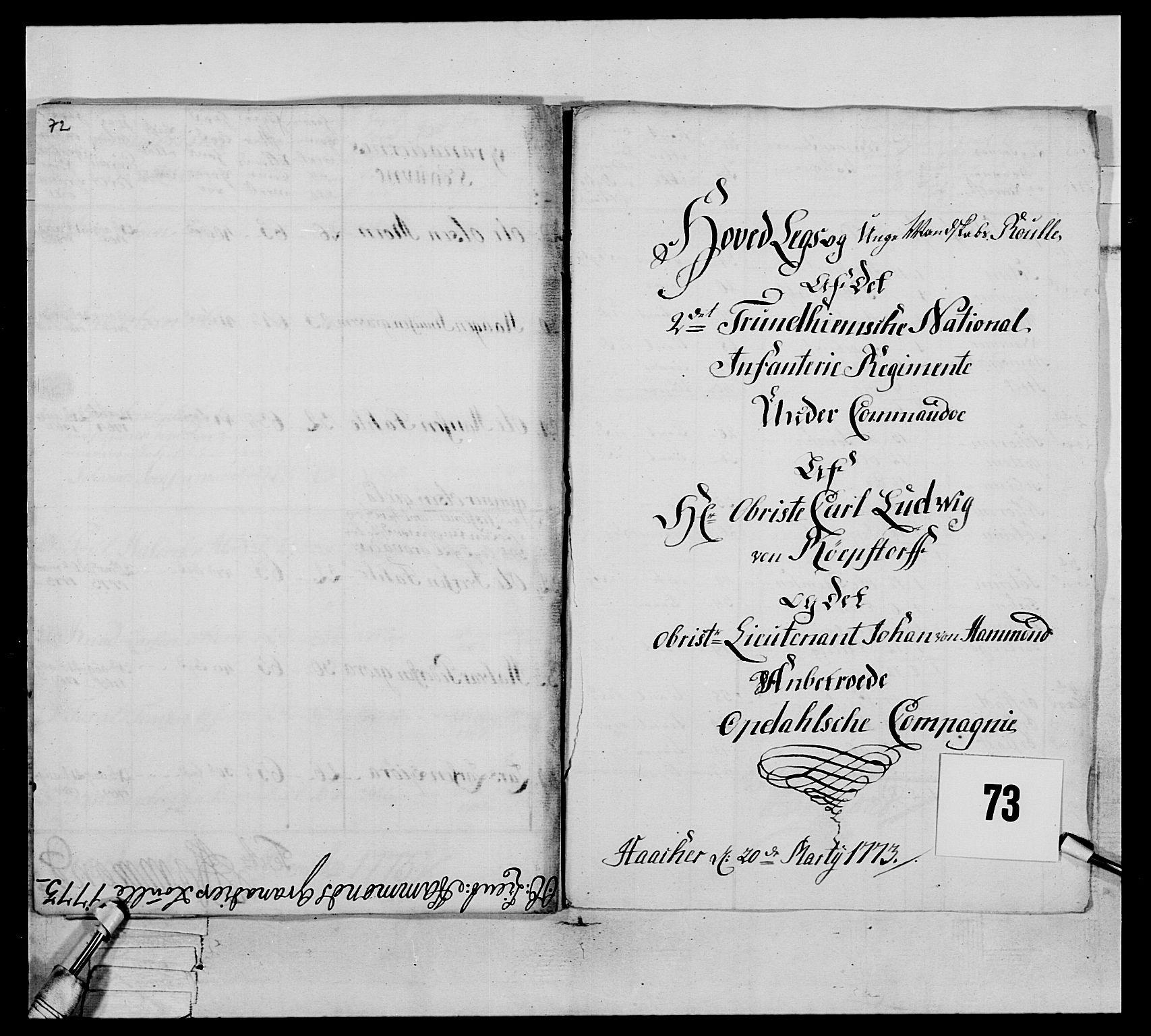 RA, Generalitets- og kommissariatskollegiet, Det kongelige norske kommissariatskollegium, E/Eh/L0076: 2. Trondheimske nasjonale infanteriregiment, 1766-1773, s. 319