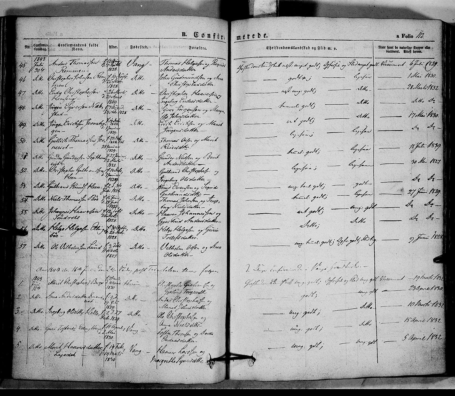 SAH, Vang prestekontor, Valdres, Ministerialbok nr. 5, 1831-1845, s. 112