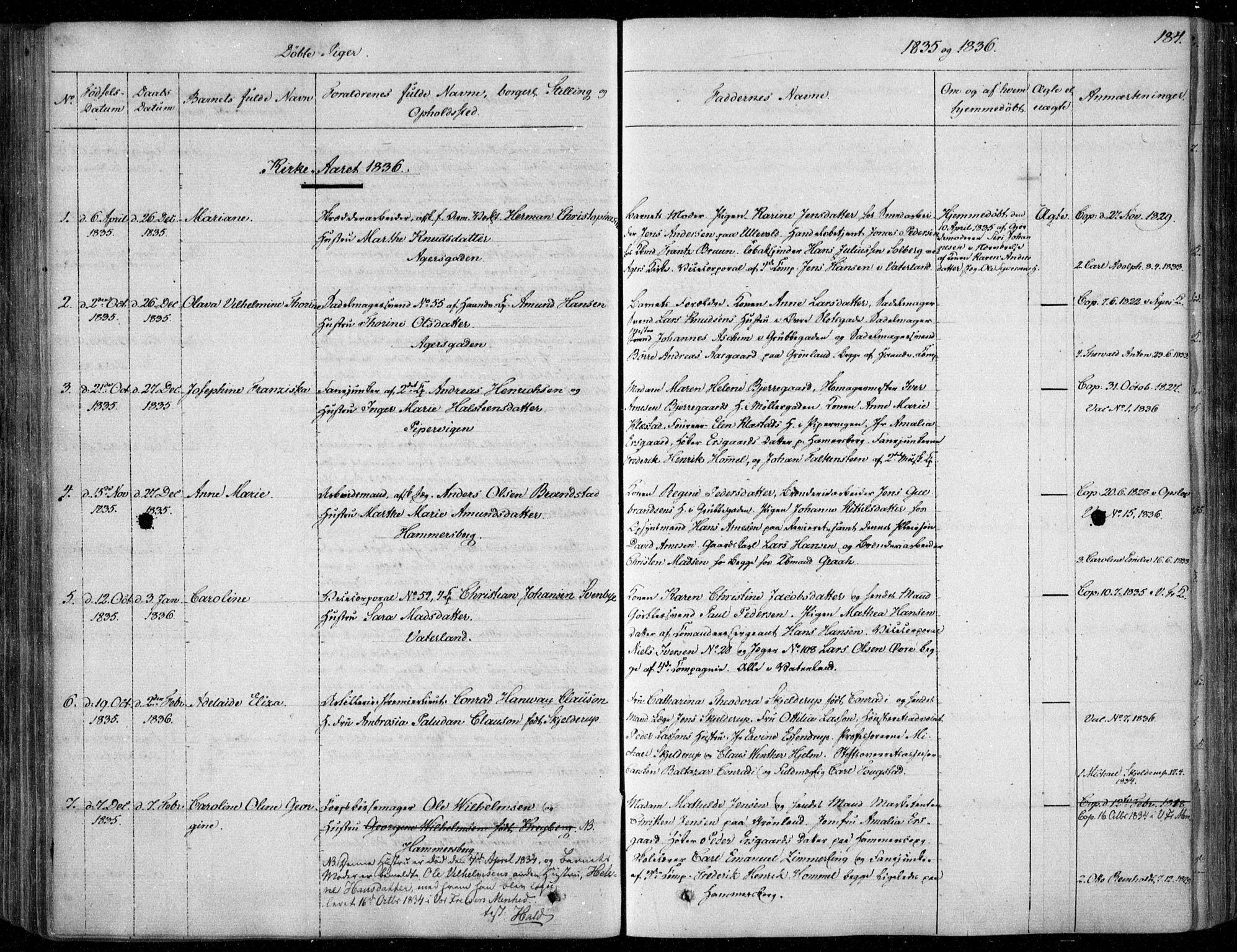 SAO, Garnisonsmenigheten Kirkebøker, F/Fa/L0006: Ministerialbok nr. 6, 1828-1841, s. 184