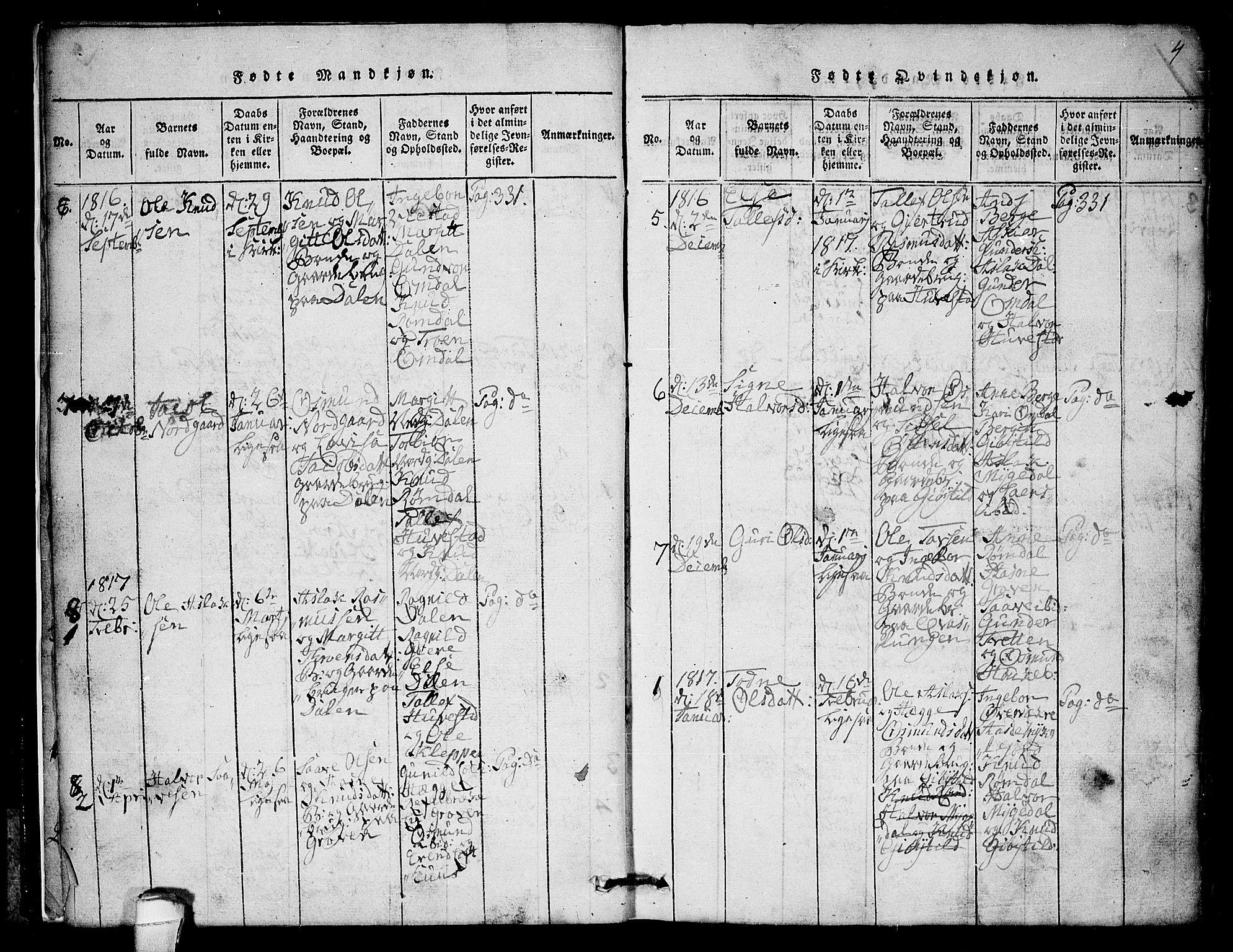 SAKO, Lårdal kirkebøker, G/Gb/L0001: Klokkerbok nr. II 1, 1815-1865, s. 4