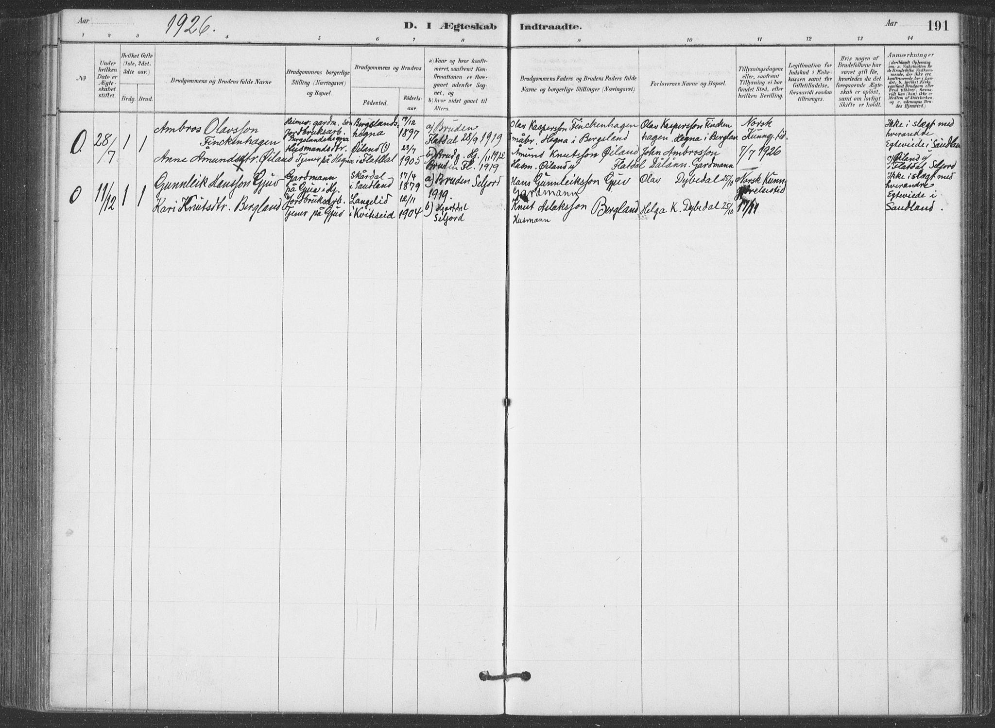 SAKO, Hjartdal kirkebøker, F/Fa/L0010: Ministerialbok nr. I 10, 1880-1929, s. 191