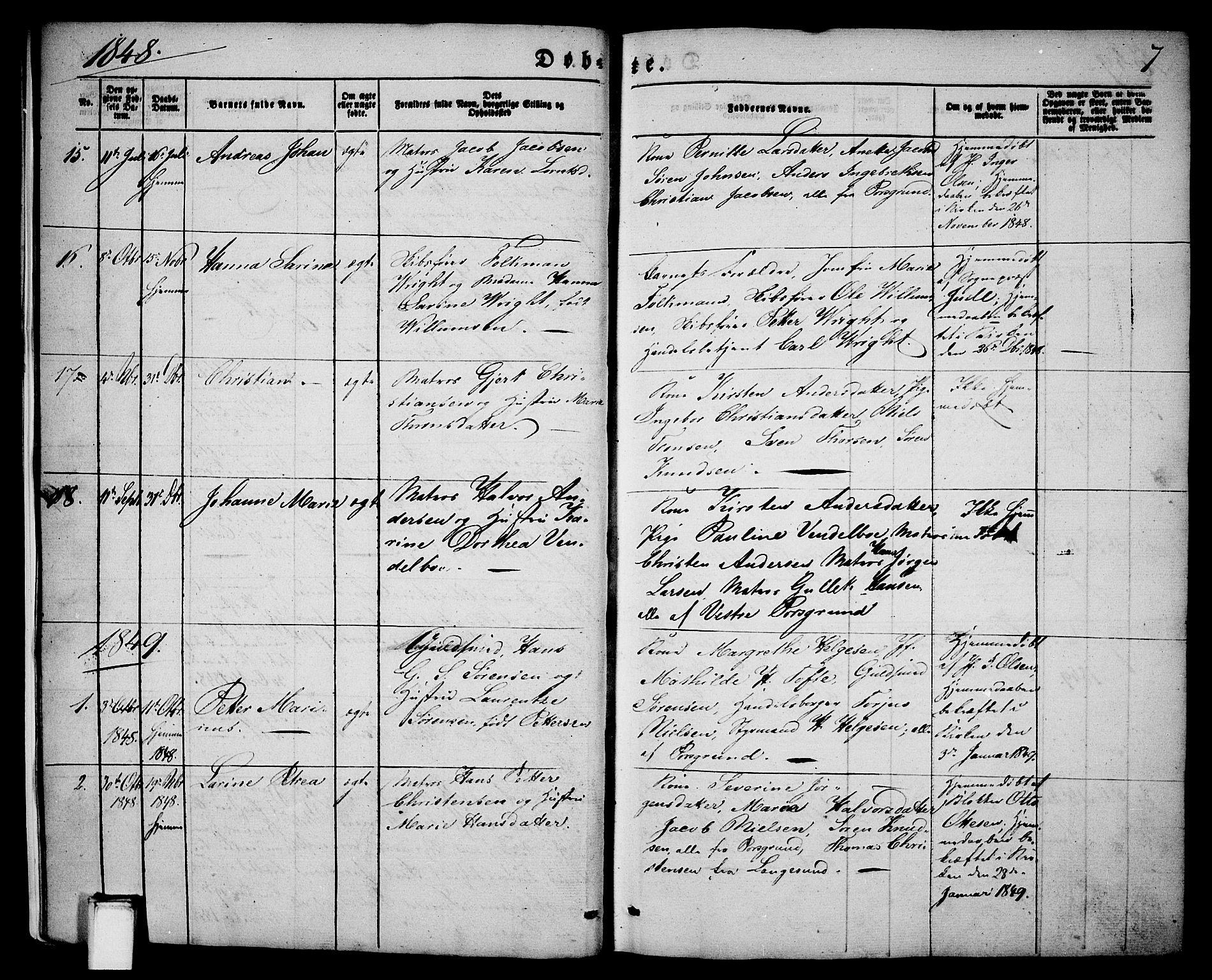 SAKO, Porsgrunn kirkebøker , G/Ga/L0002: Klokkerbok nr. I 2, 1847-1877, s. 7