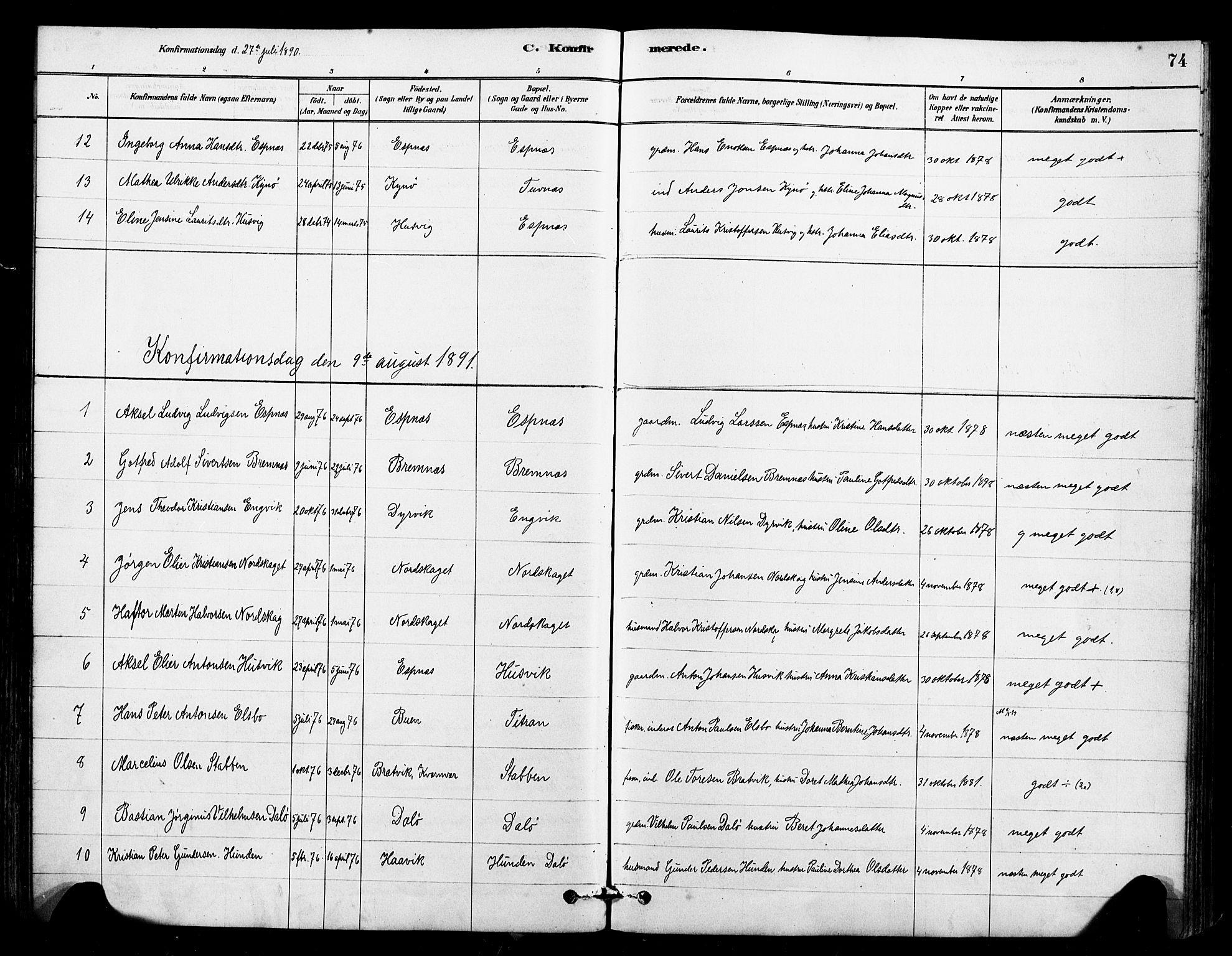SAT, Ministerialprotokoller, klokkerbøker og fødselsregistre - Sør-Trøndelag, 641/L0595: Ministerialbok nr. 641A01, 1882-1897, s. 74