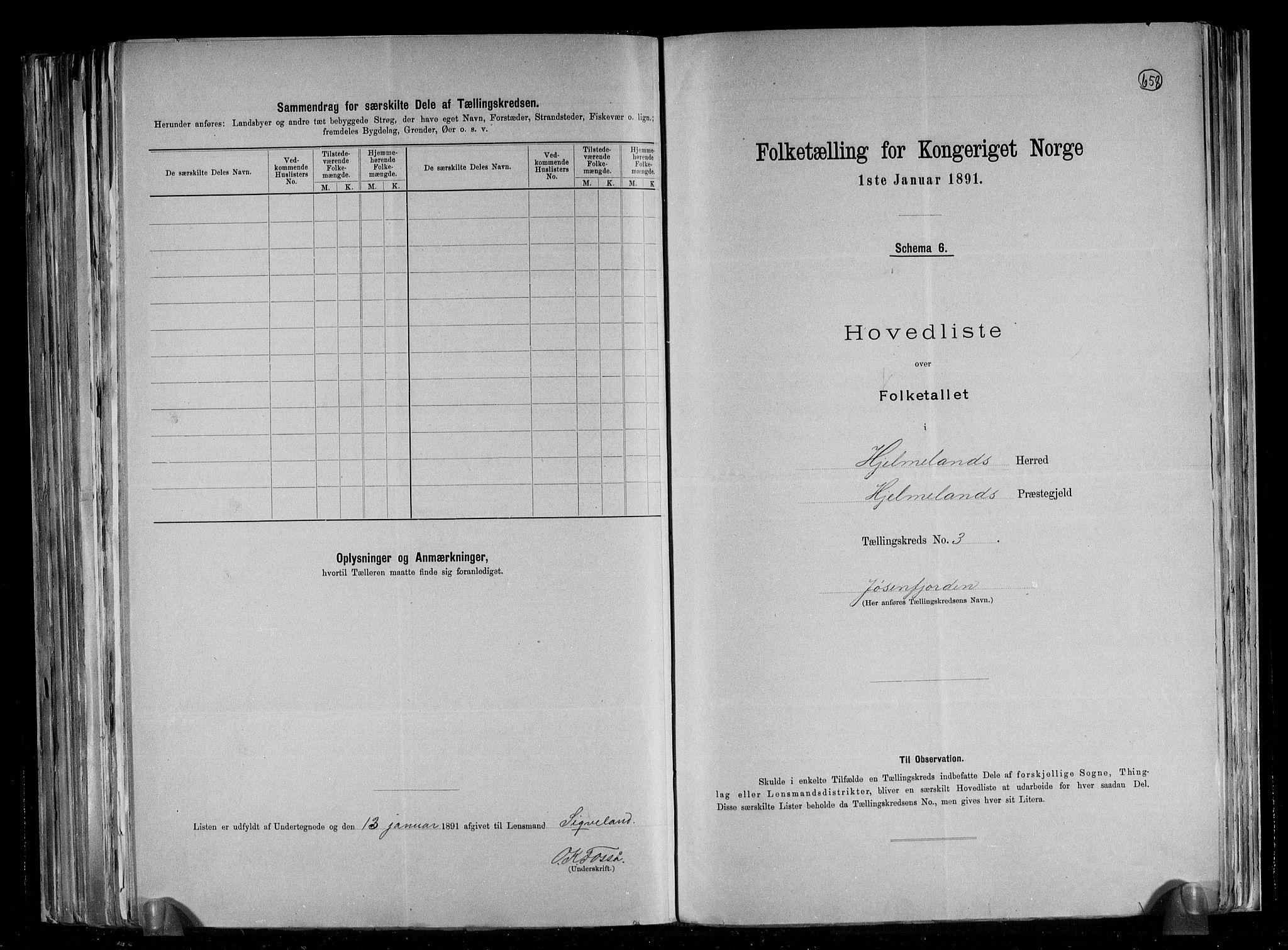 RA, Folketelling 1891 for 1133 Hjelmeland herred, 1891, s. 9