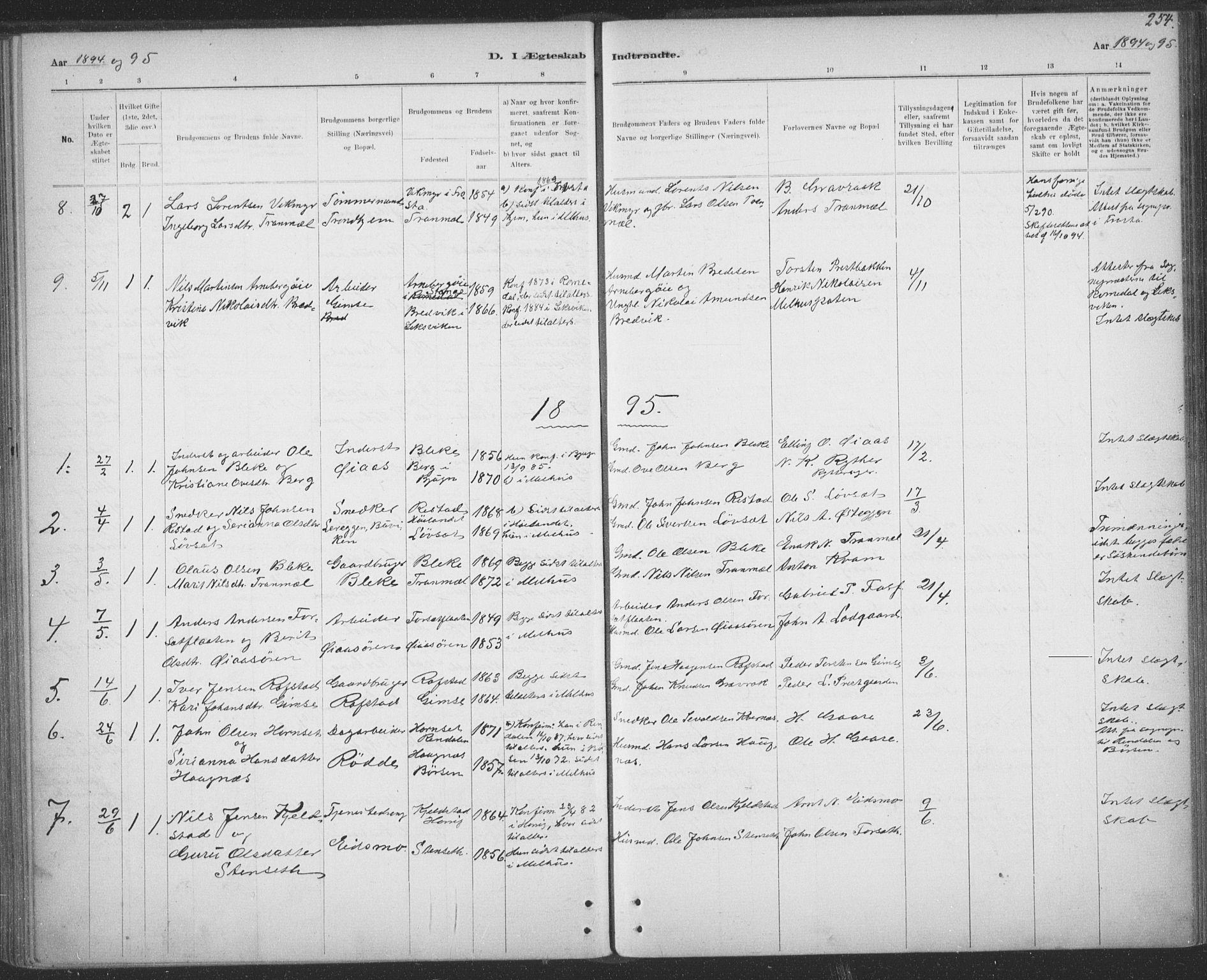 SAT, Ministerialprotokoller, klokkerbøker og fødselsregistre - Sør-Trøndelag, 691/L1085: Ministerialbok nr. 691A17, 1887-1908, s. 254