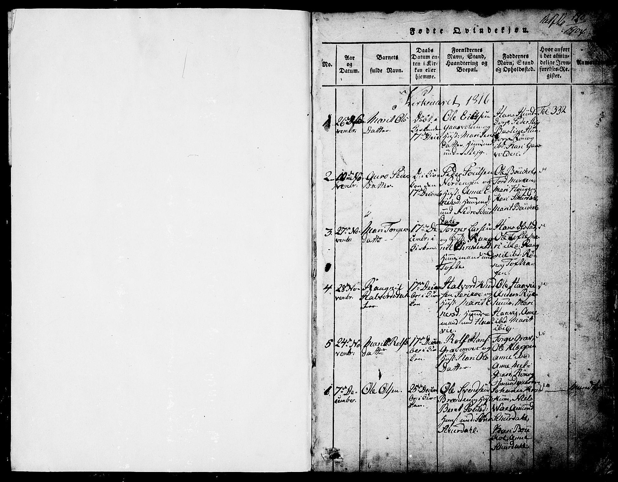 SAH, Fron prestekontor, H/Ha/Hab/L0001: Klokkerbok nr. 1, 1816-1843, s. 1