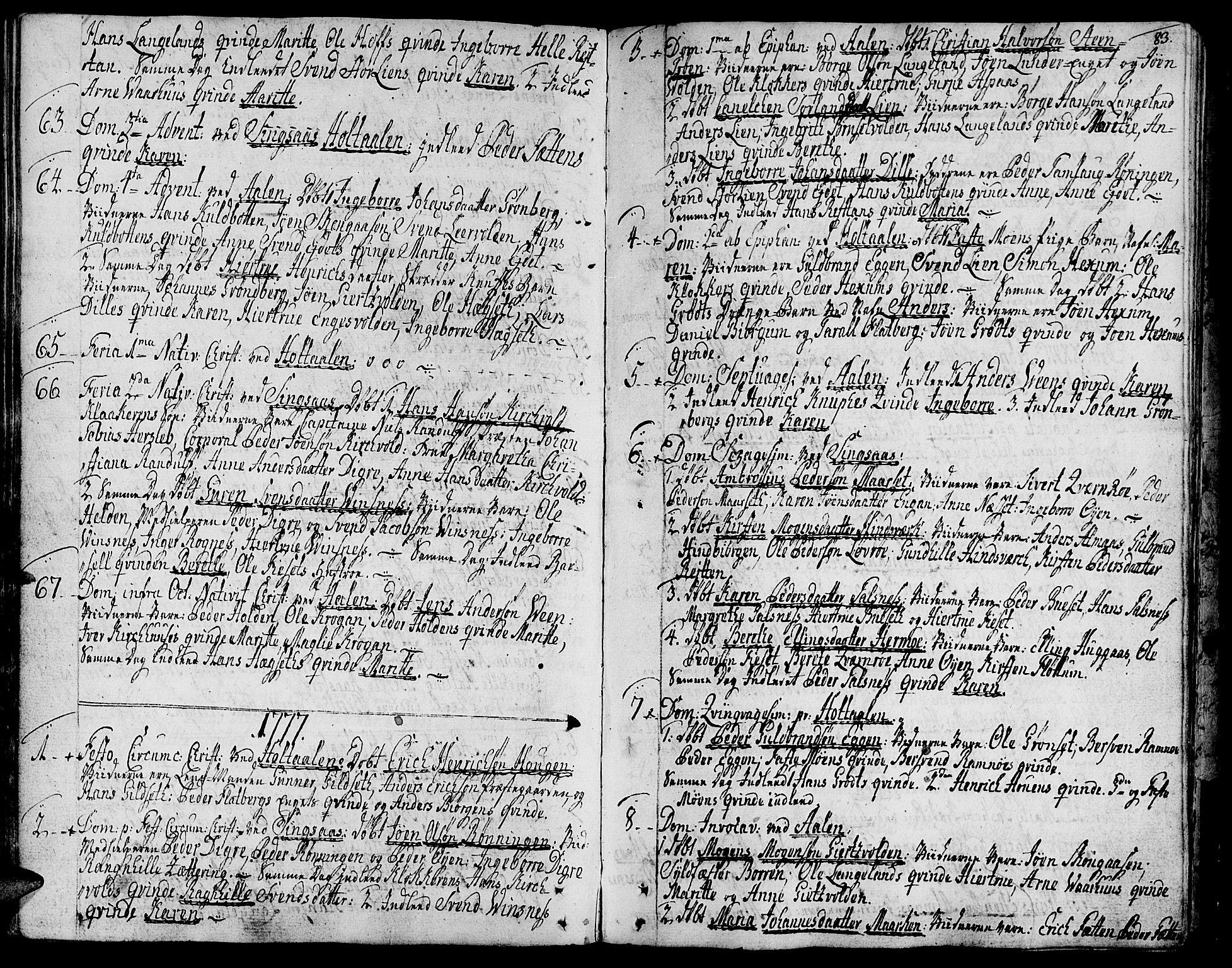 SAT, Ministerialprotokoller, klokkerbøker og fødselsregistre - Sør-Trøndelag, 685/L0952: Ministerialbok nr. 685A01, 1745-1804, s. 83