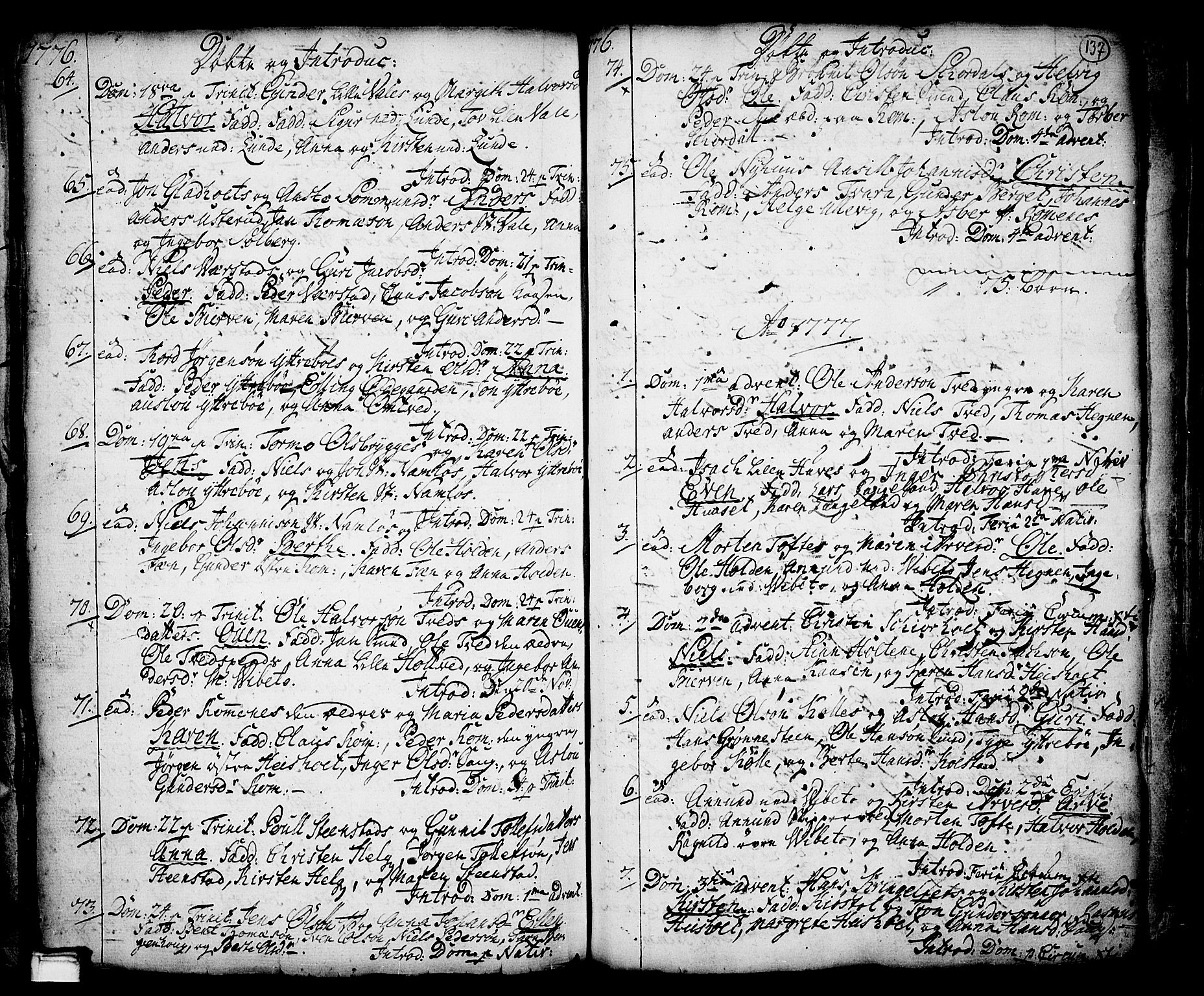 SAKO, Holla kirkebøker, F/Fa/L0001: Ministerialbok nr. 1, 1717-1779, s. 137