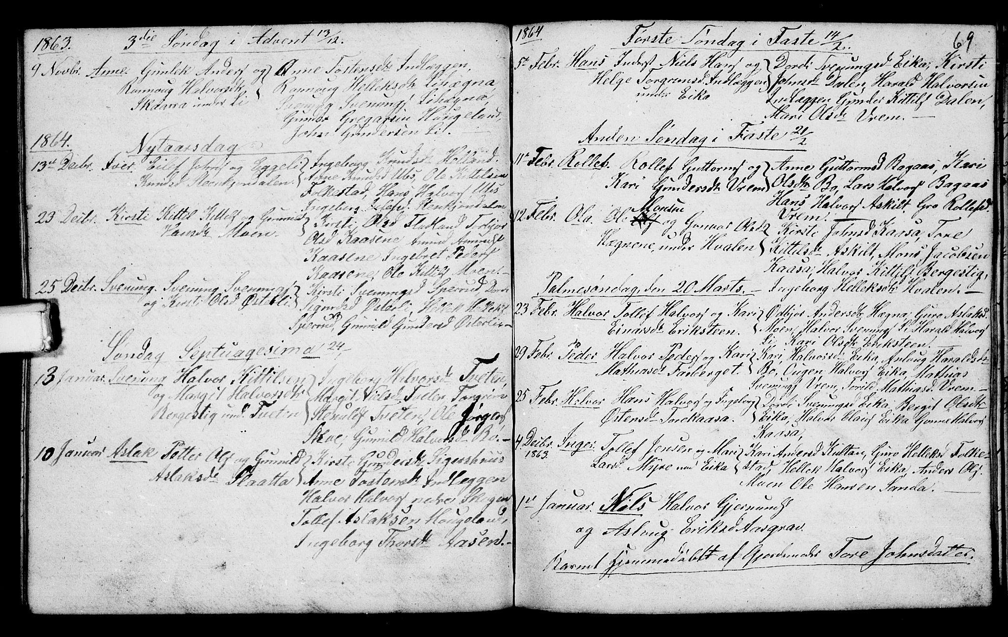 SAKO, Bø kirkebøker, G/Ga/L0002: Klokkerbok nr. 2, 1853-1866, s. 69
