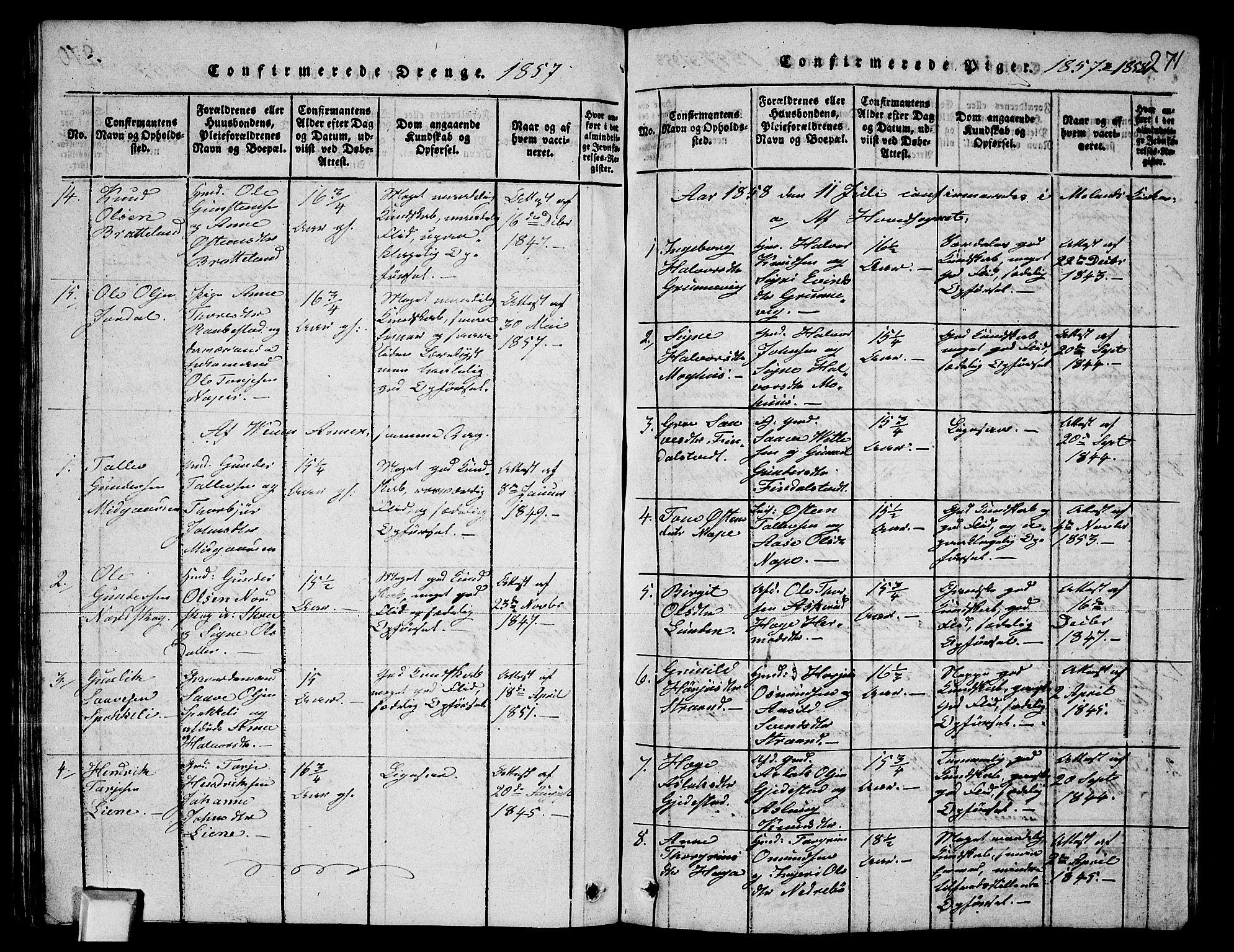 SAKO, Fyresdal kirkebøker, G/Ga/L0003: Klokkerbok nr. I 3, 1815-1863, s. 271