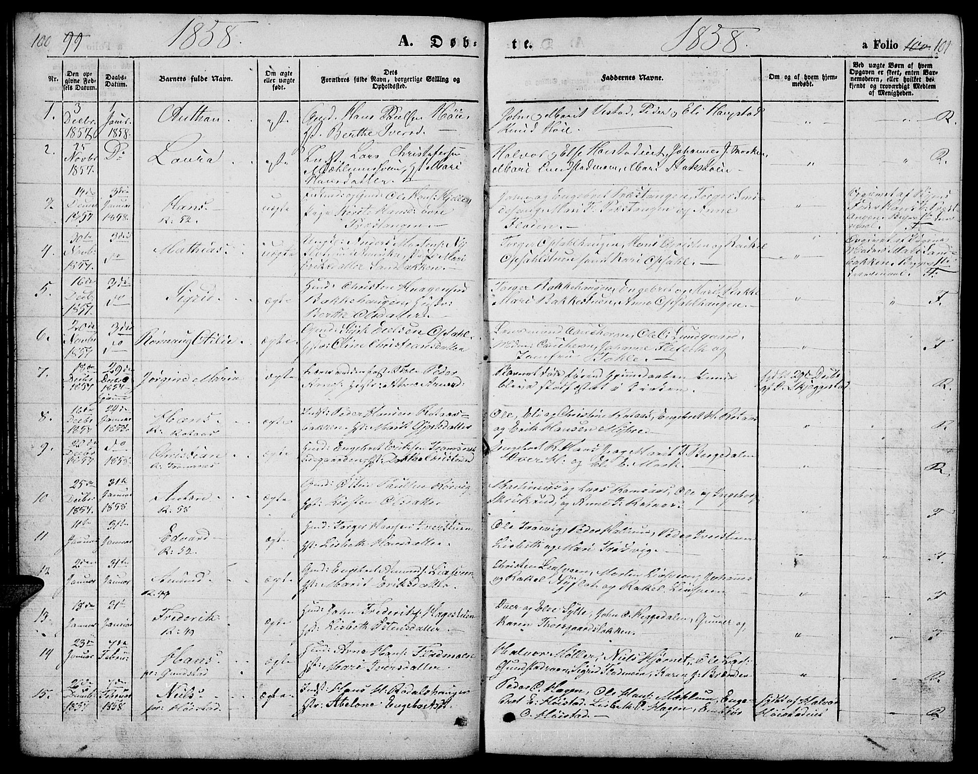 SAH, Ringebu prestekontor, Klokkerbok nr. 3, 1854-1866, s. 100-101