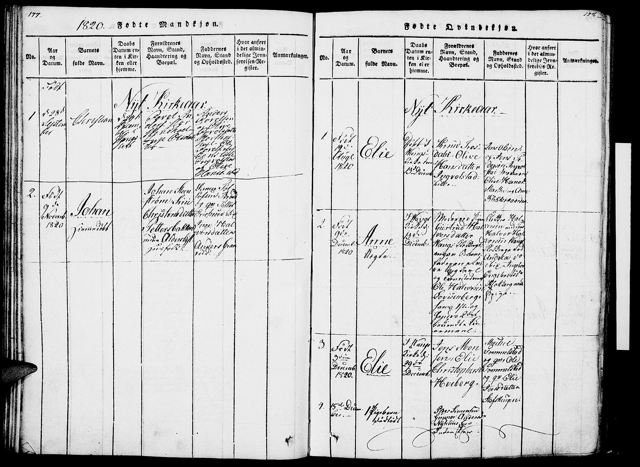 SAH, Vang prestekontor, Hedmark, H/Ha/Haa/L0007: Ministerialbok nr. 7, 1813-1826, s. 177-178