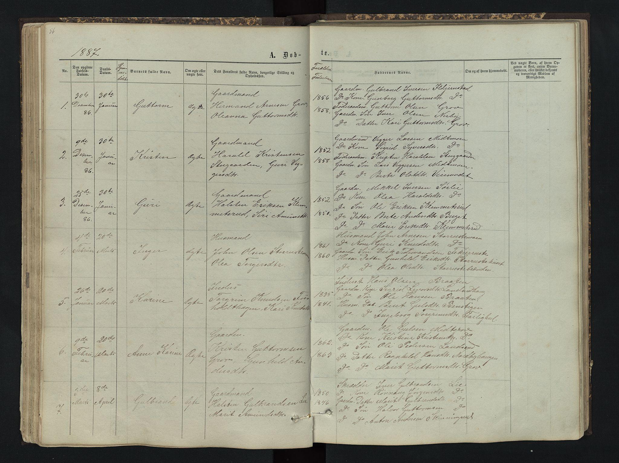 SAH, Sør-Aurdal prestekontor, Klokkerbok nr. 4, 1865-1893, s. 56