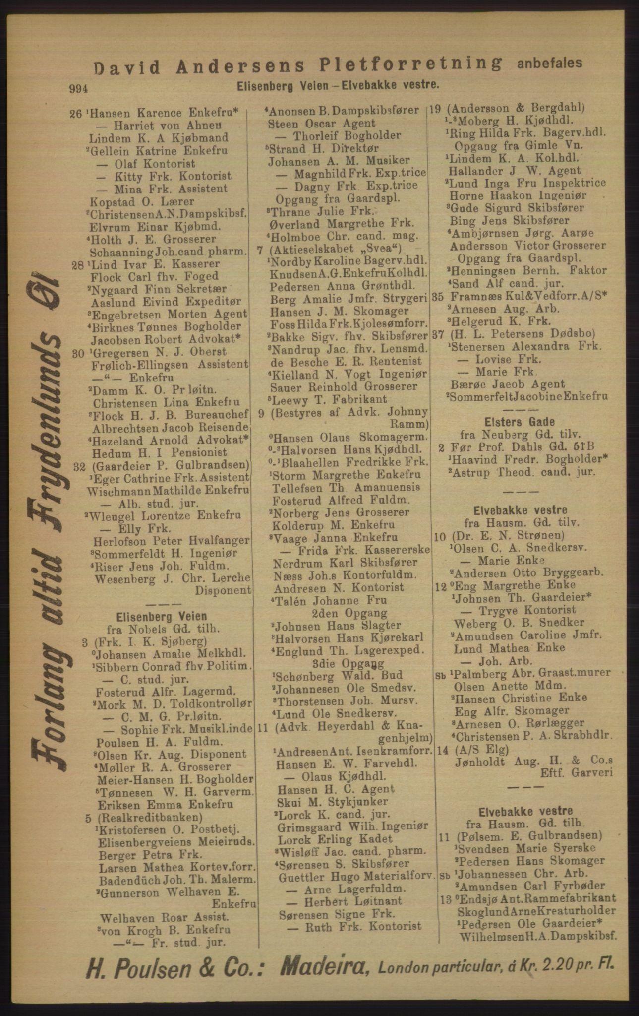 RA, Kristiania adressebok (publikasjon)*, 1906, s. 994