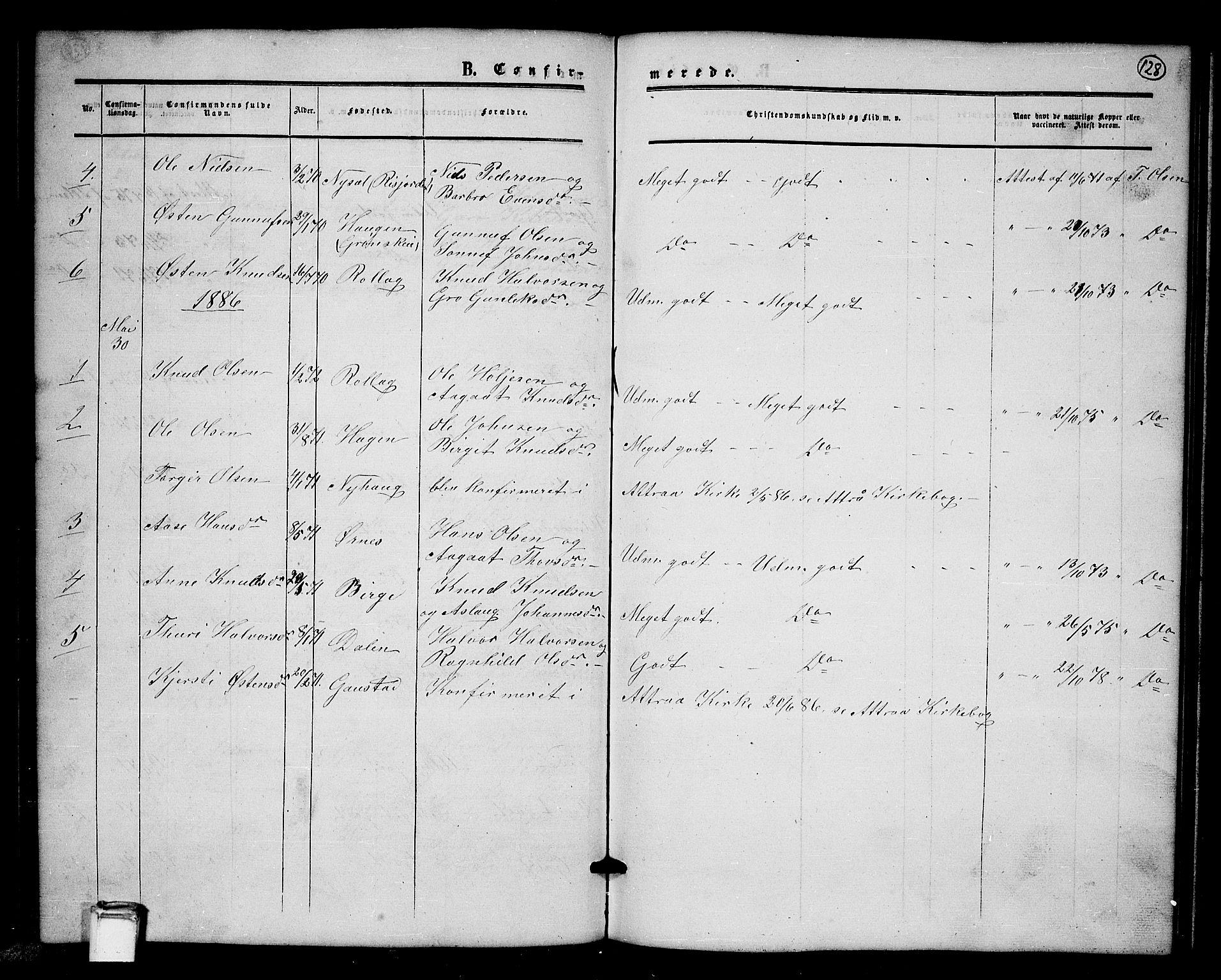 SAKO, Tinn kirkebøker, G/Gb/L0002: Klokkerbok nr. II 2, 1851-1886, s. 128