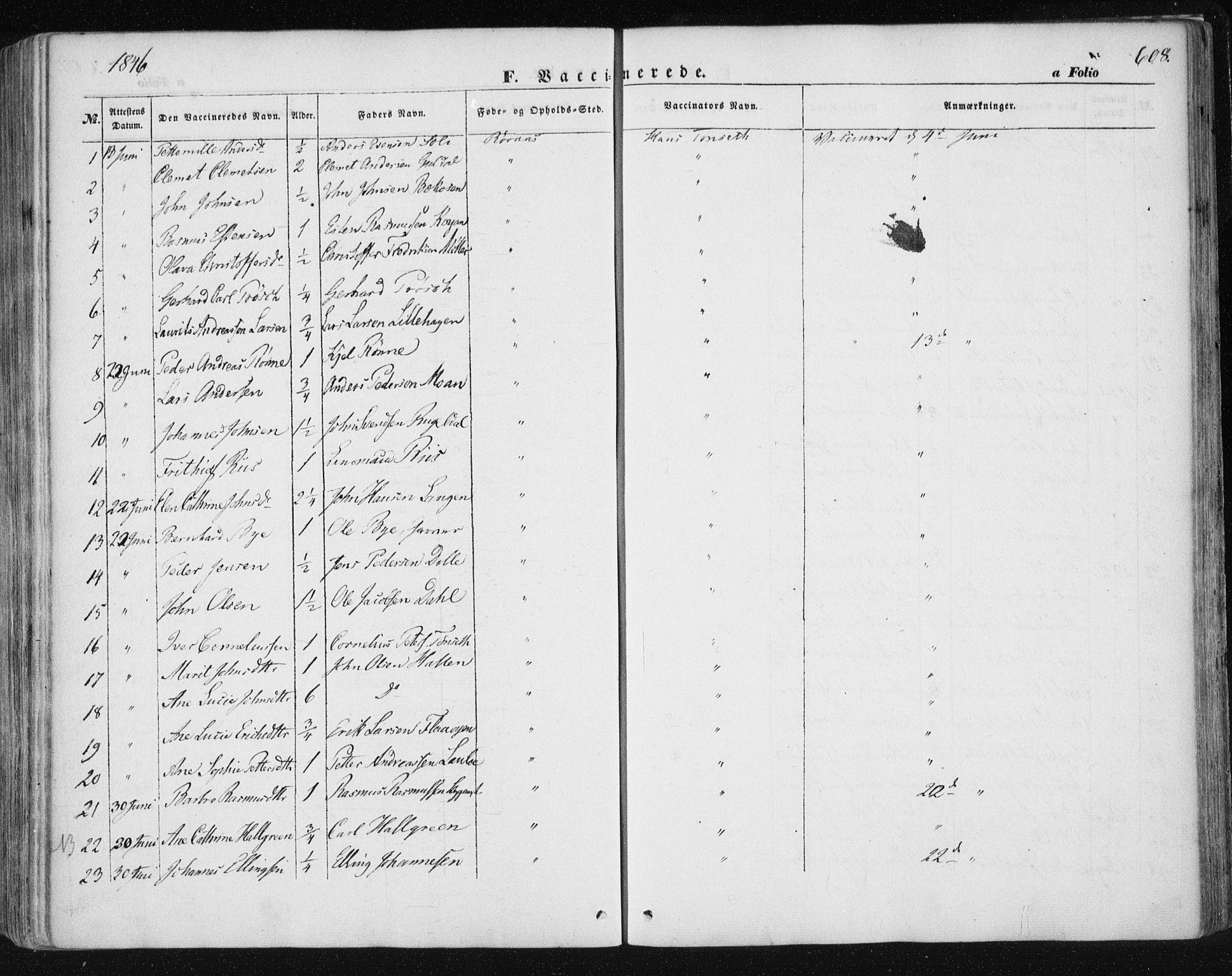 SAT, Ministerialprotokoller, klokkerbøker og fødselsregistre - Sør-Trøndelag, 681/L0931: Ministerialbok nr. 681A09, 1845-1859, s. 608