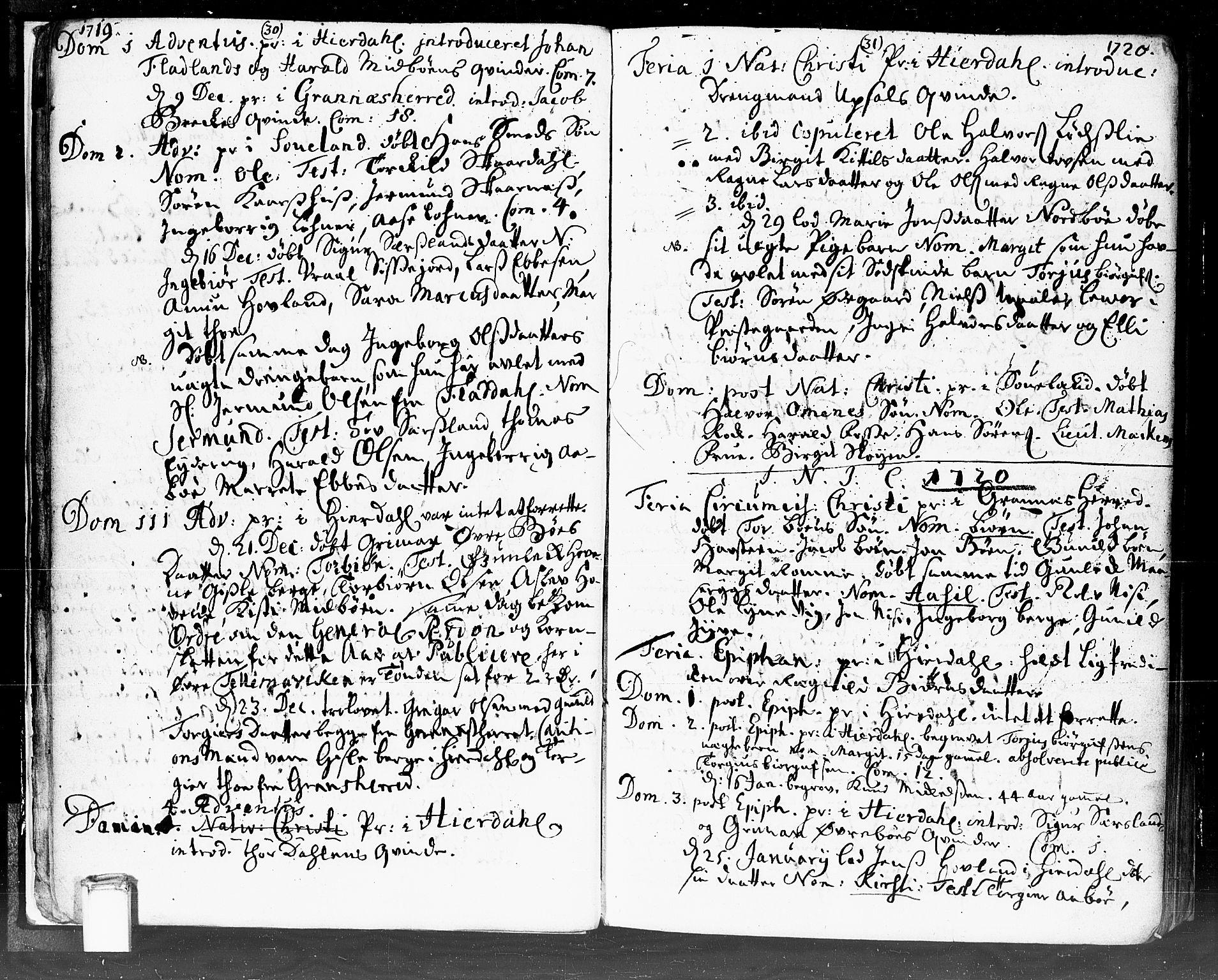 SAKO, Hjartdal kirkebøker, F/Fa/L0002: Ministerialbok nr. I 2, 1716-1754, s. 30-31