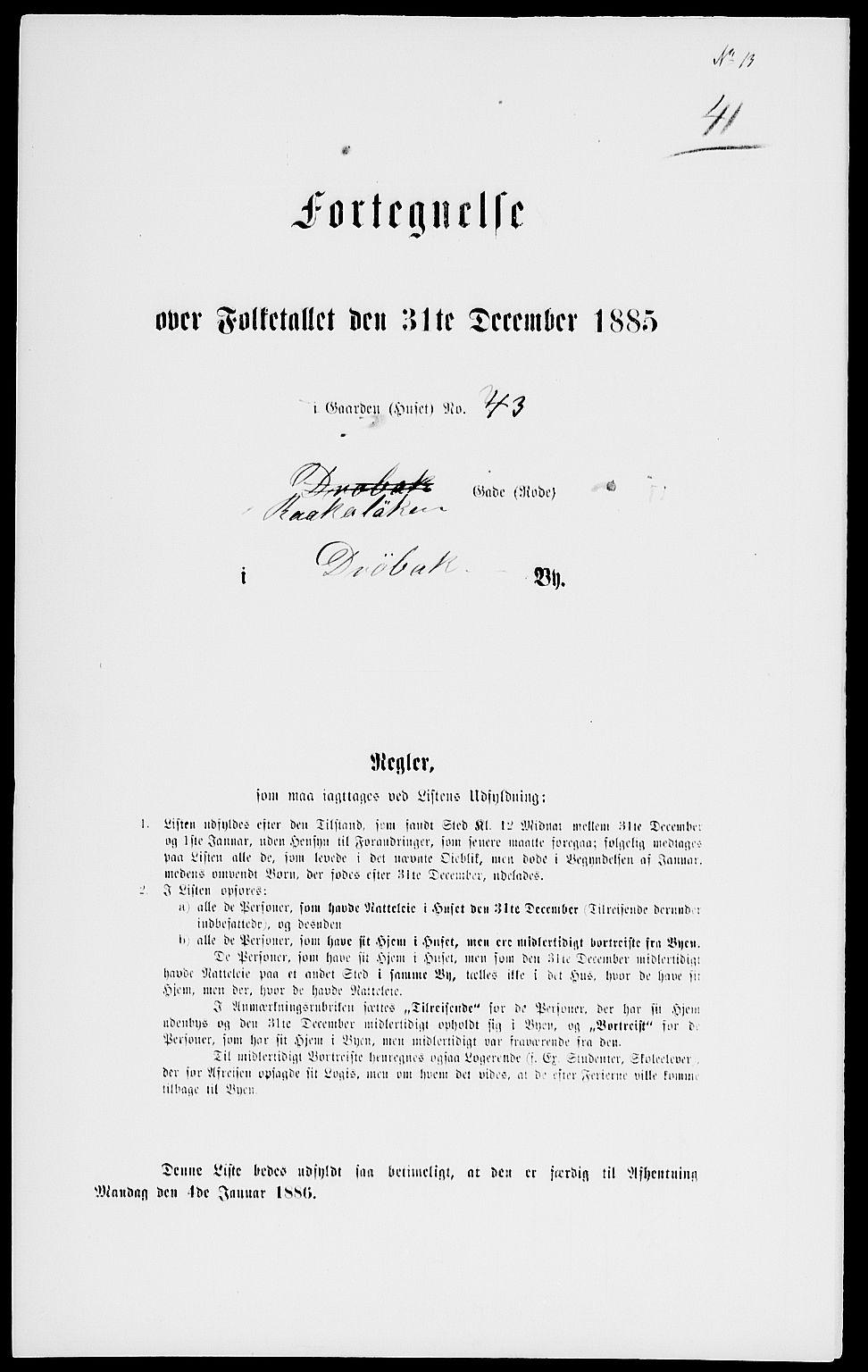 RA, Folketelling 1885 for 0203 Drøbak kjøpstad, 1885, s. 82