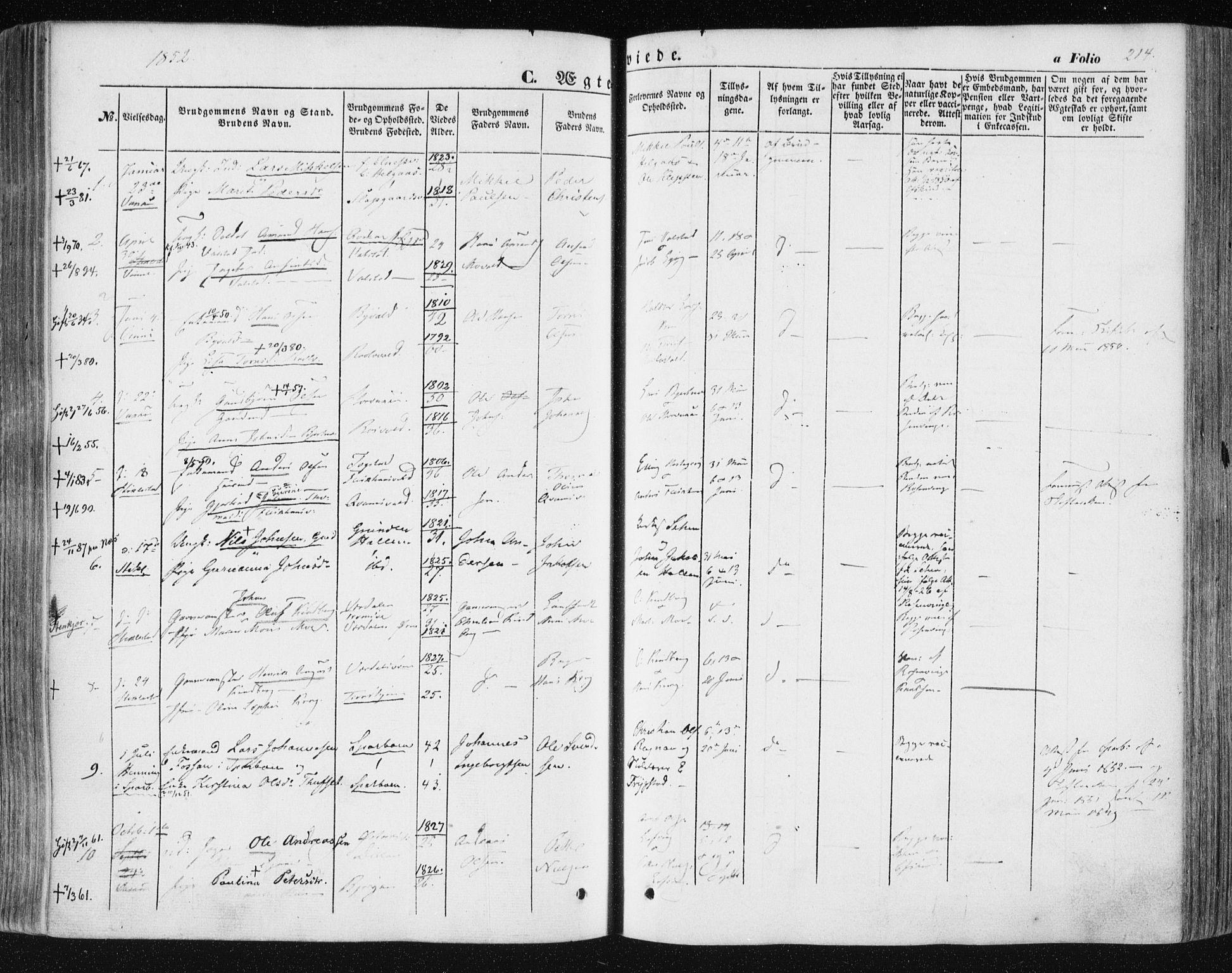 SAT, Ministerialprotokoller, klokkerbøker og fødselsregistre - Nord-Trøndelag, 723/L0240: Ministerialbok nr. 723A09, 1852-1860, s. 214