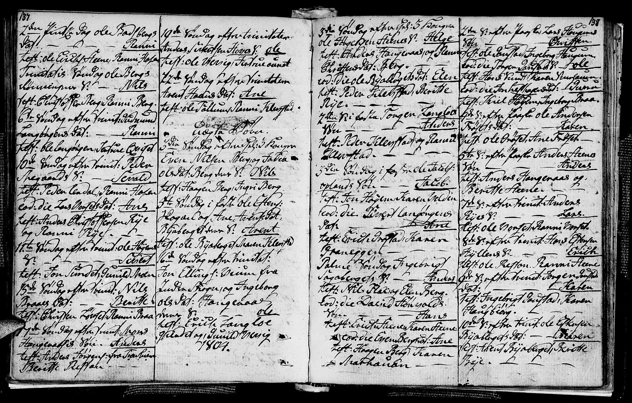 SAT, Ministerialprotokoller, klokkerbøker og fødselsregistre - Sør-Trøndelag, 612/L0371: Ministerialbok nr. 612A05, 1803-1816, s. 137-138