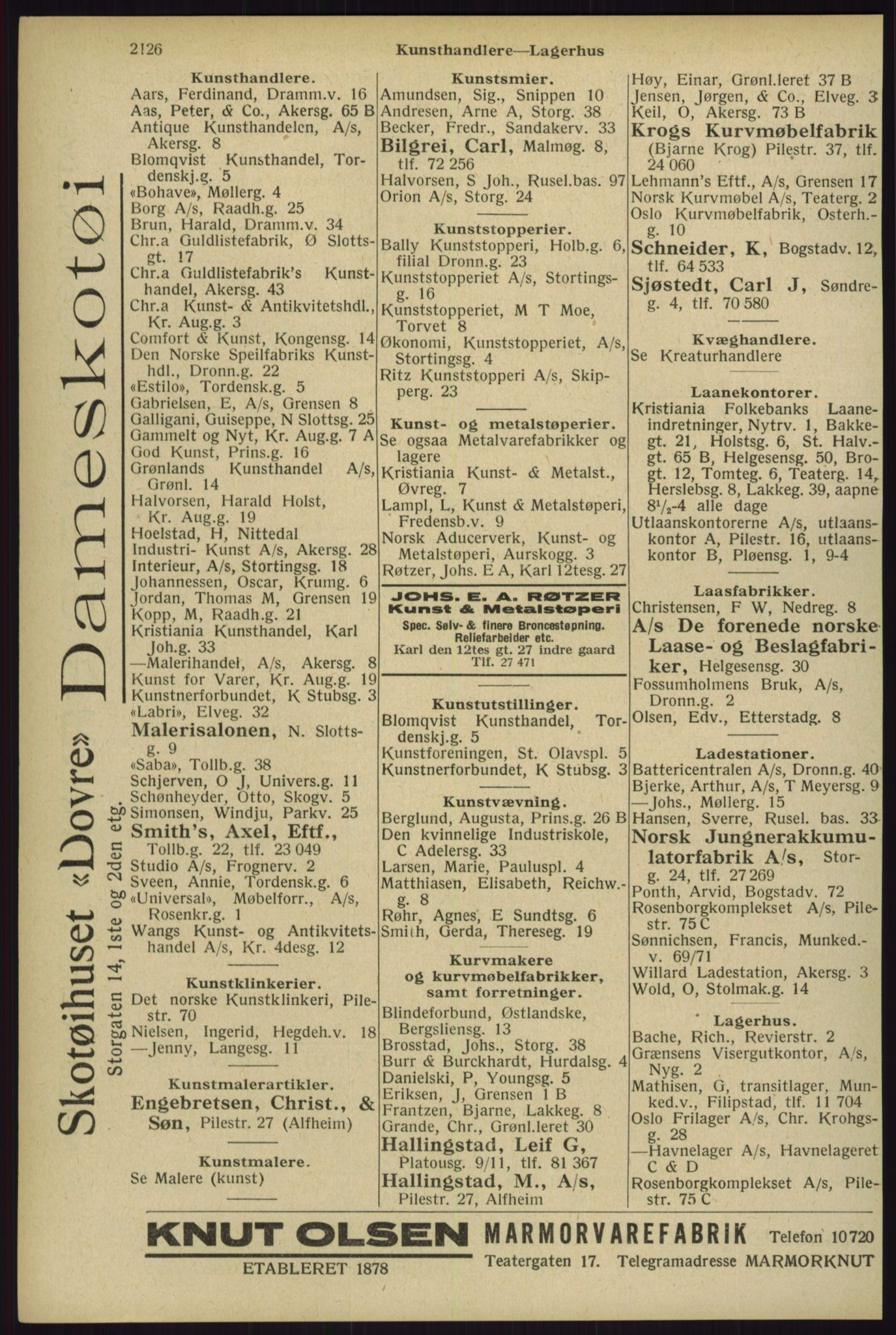 RA, Oslo adressebok (publikasjon)*, 1929, s. 2126