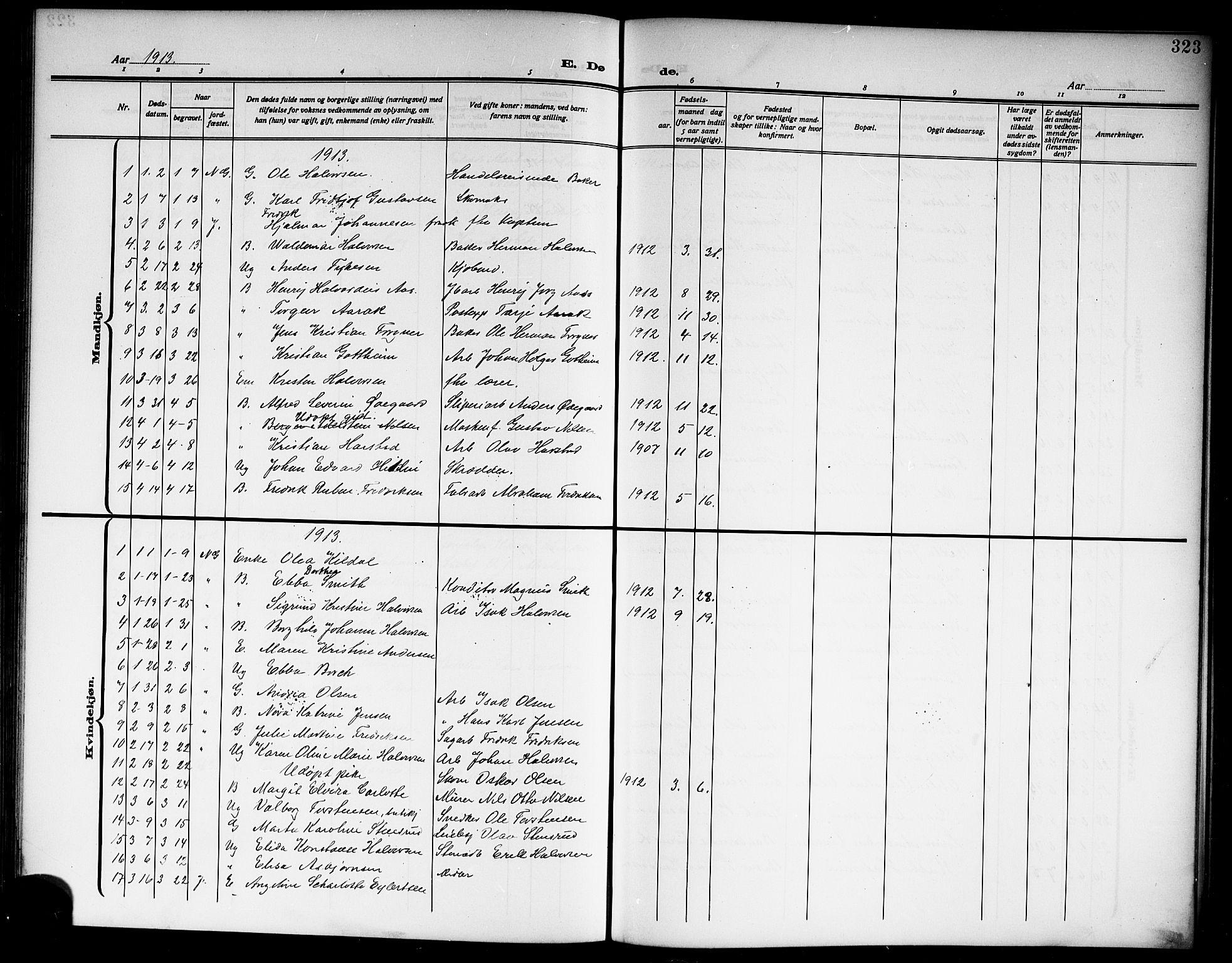SAKO, Skien kirkebøker, G/Ga/L0009: Klokkerbok nr. 9, 1910-1920, s. 323