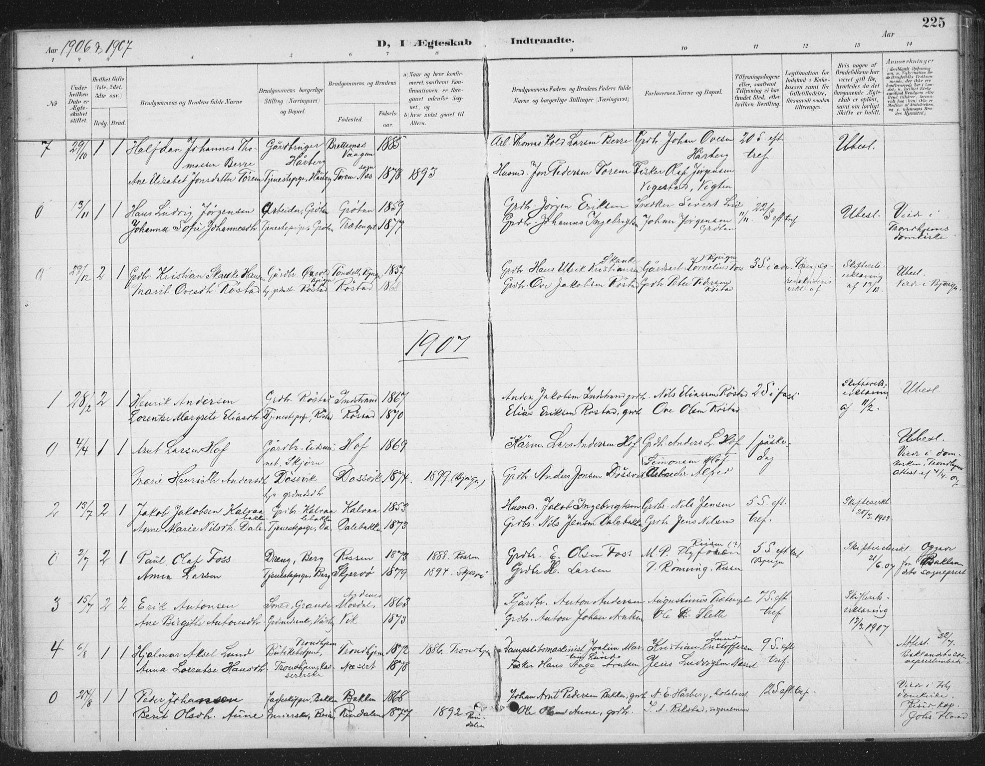 SAT, Ministerialprotokoller, klokkerbøker og fødselsregistre - Sør-Trøndelag, 659/L0743: Ministerialbok nr. 659A13, 1893-1910, s. 225